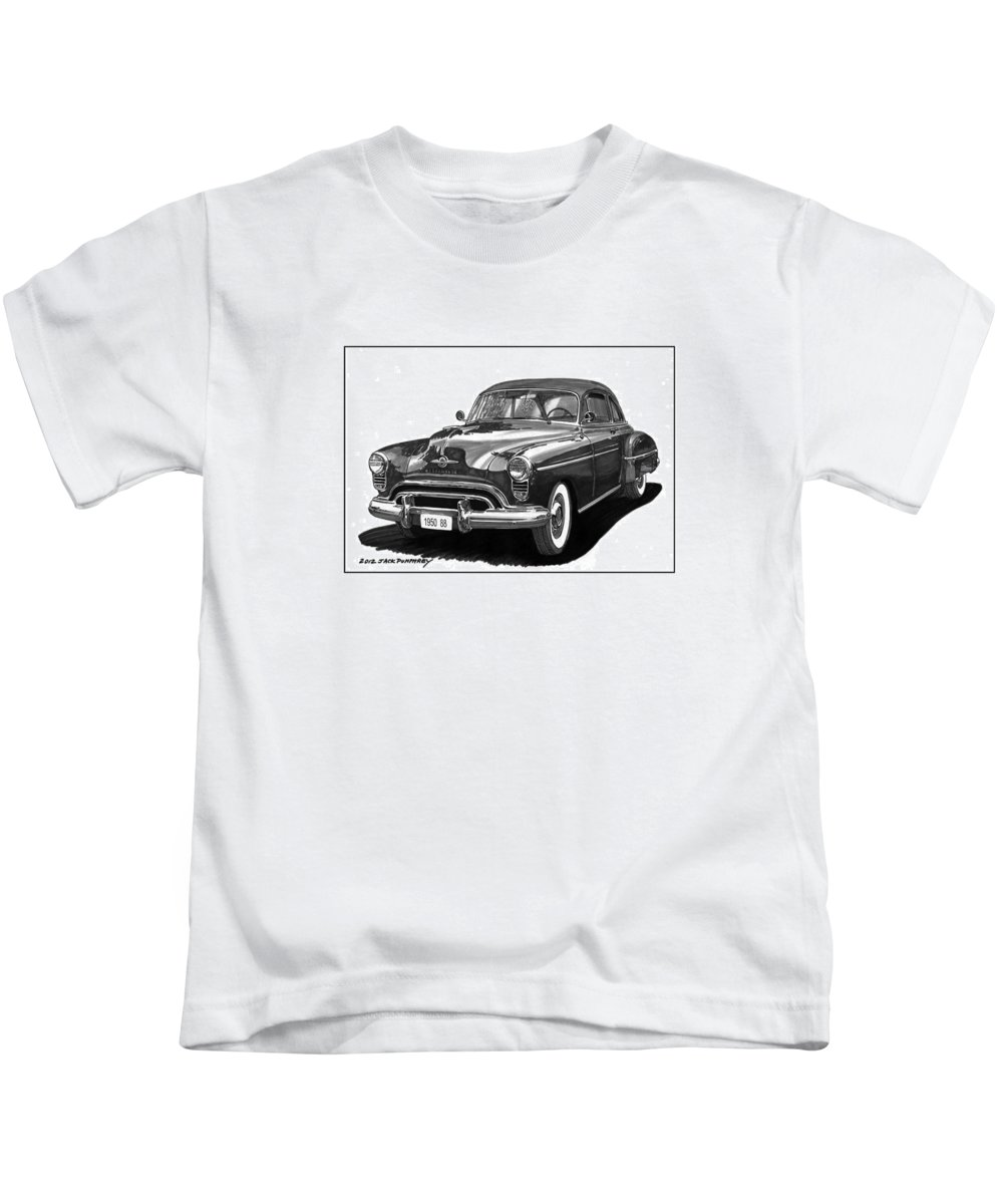 Car Art Kids T-Shirt featuring the drawing 1950 Oldsmobile Rocket 88 by Jack Pumphrey