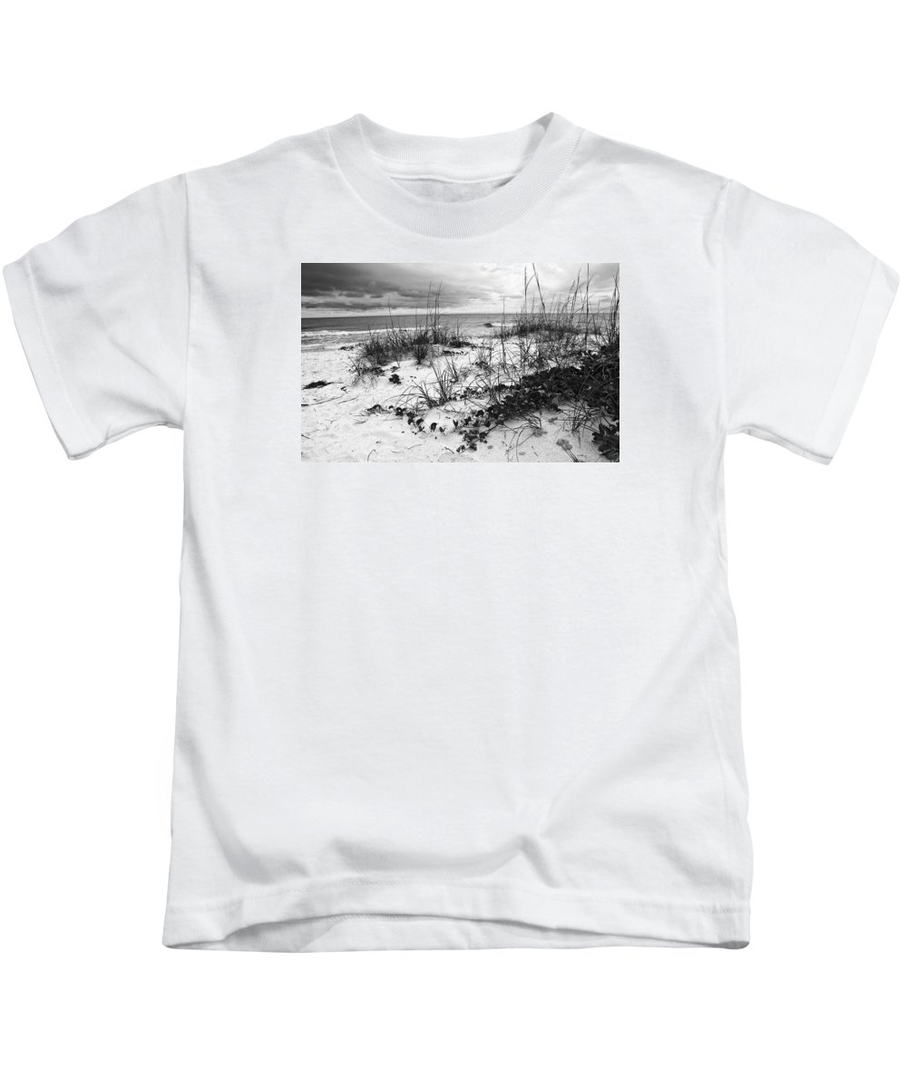 Seascape Kids T-Shirt featuring the photograph After The Storm Bw by Norman Johnson
