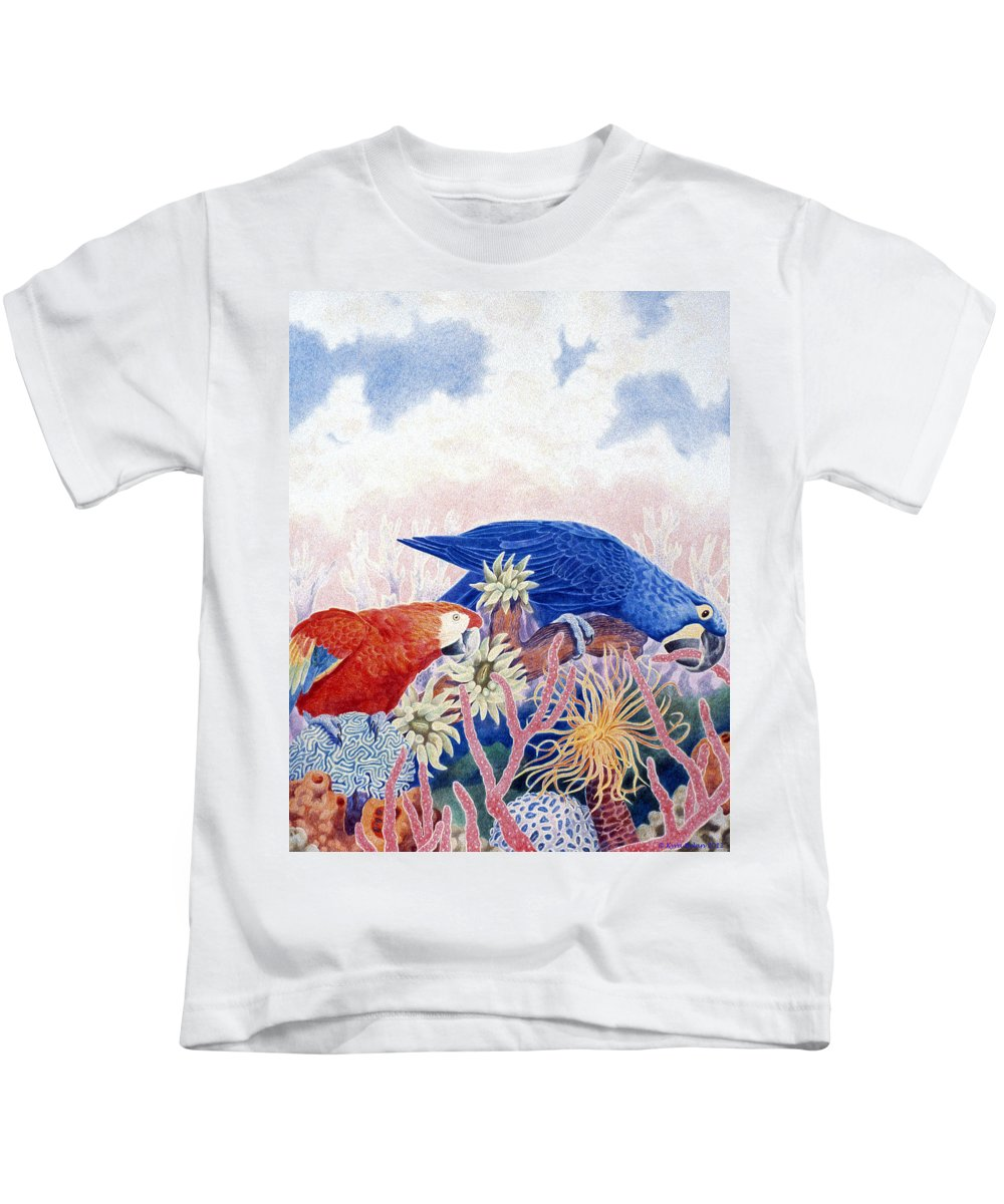 Red Parrot And Blue Parrot Surrounded By Blue Sky And Surreal Environment Of Underwater Plants. Kids T-Shirt featuring the drawing Astarte's Paradise IIi by Kyra Belan