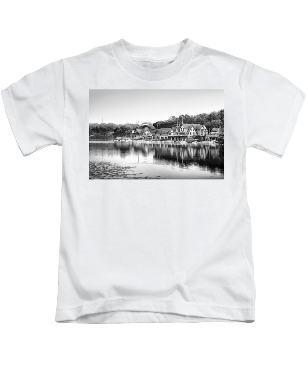Black Kids T-Shirt featuring the photograph Black And White Boathouse Row by Bill Cannon