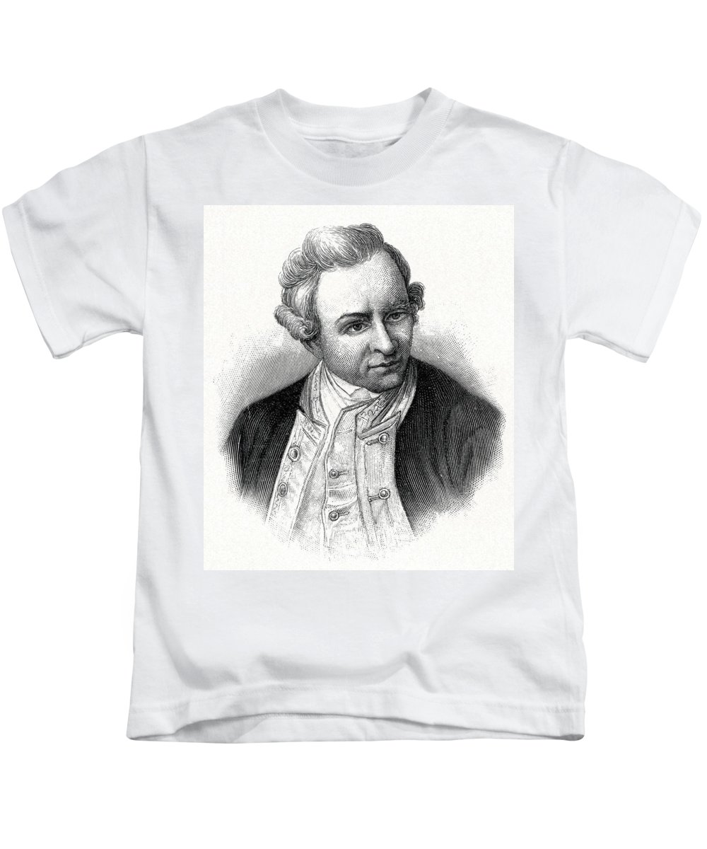 James Cook Kids T-Shirt featuring the photograph Captain James Cook, British Explorer by CCI Archives