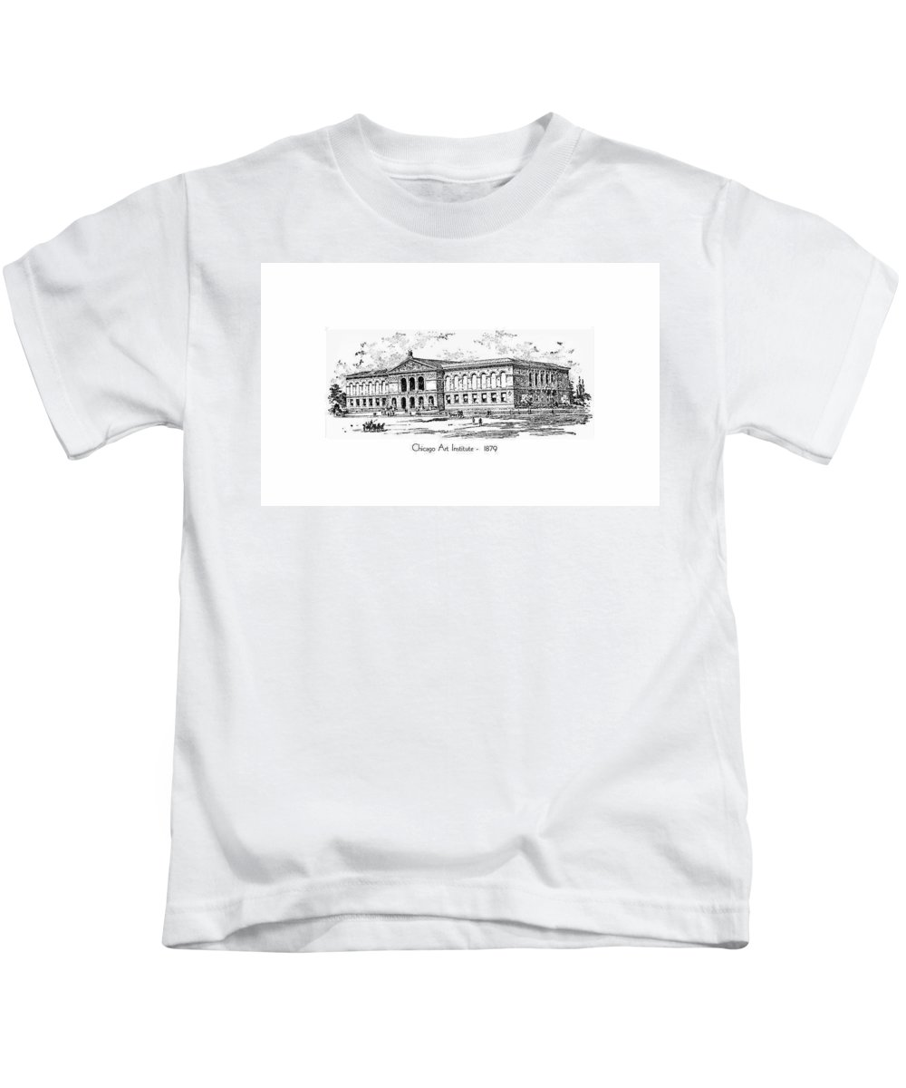 Chicago Kids T-Shirt featuring the digital art Chicago Art Institute - 1879 by John Madison