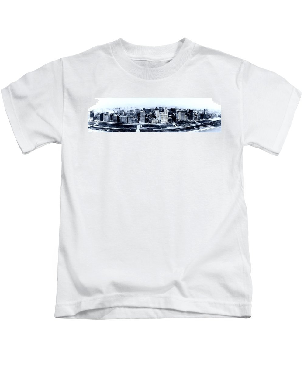 1915 Kids T-Shirt featuring the photograph Chicago Panorama 1915 by Mountain Dreams