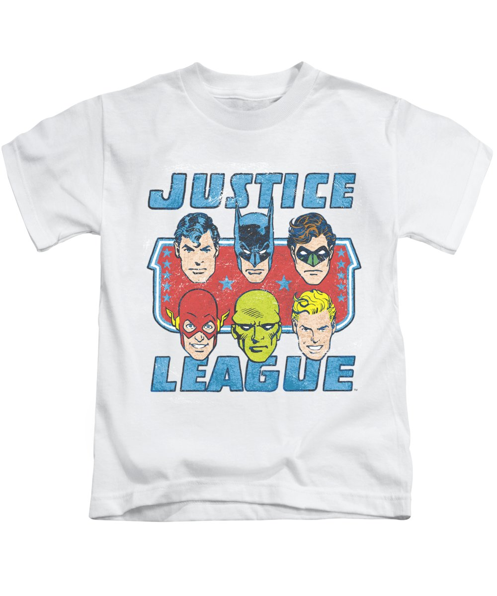Justice League Kids T-Shirt featuring the digital art Dc - Faces Of Justice by Brand A