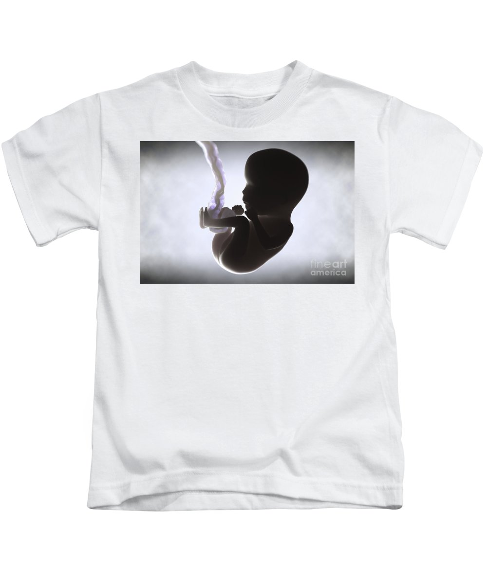 Womb Kids T-Shirt featuring the photograph Fetus In Utero Week 15 by Science Picture Co