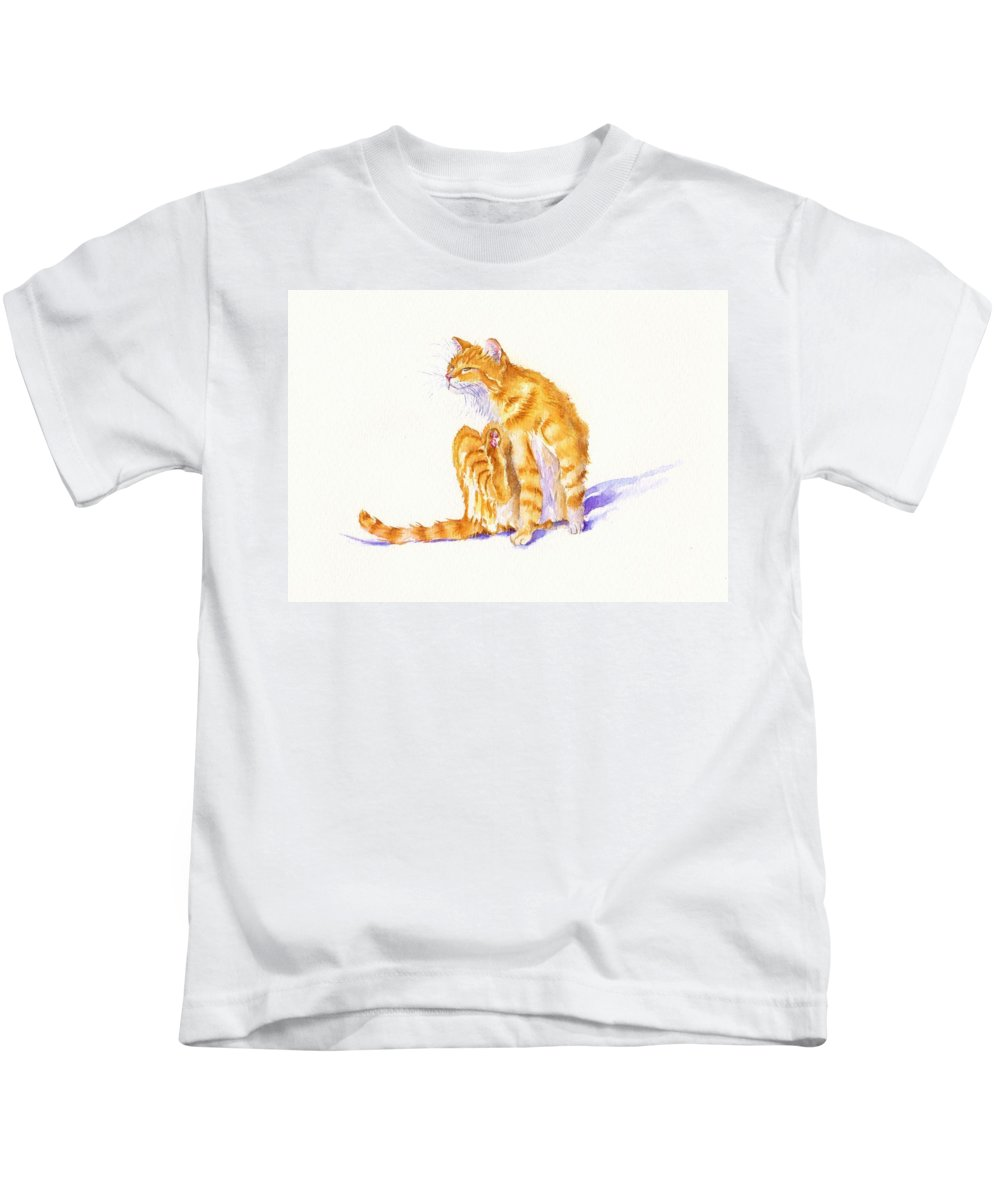 Tom Cat Kids T-Shirt featuring the painting Flea Magnet by Debra Hall