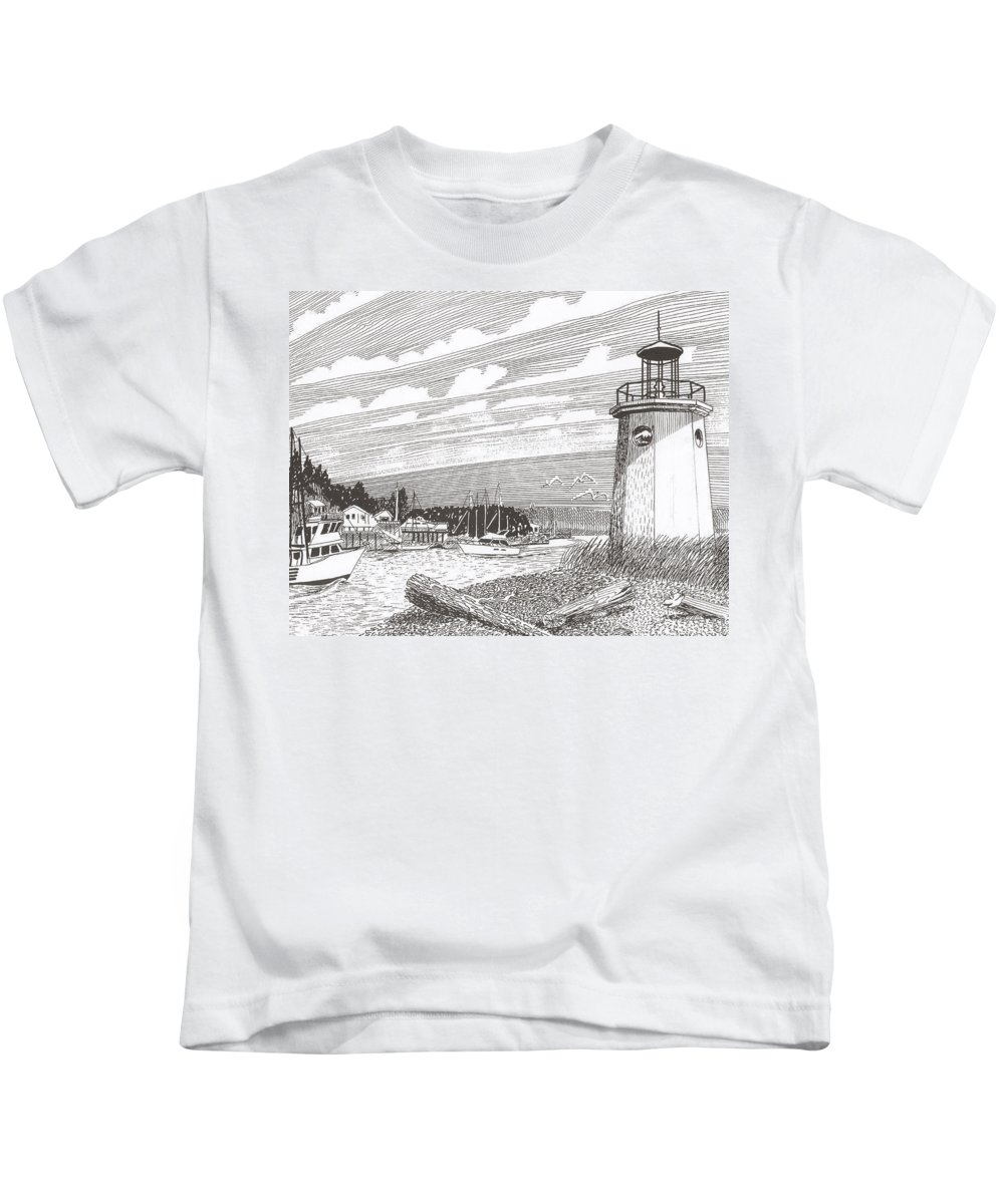 Lighthouse Art Kids T-Shirt featuring the drawing Lighthouse Gig Harbor Entrance by Jack Pumphrey