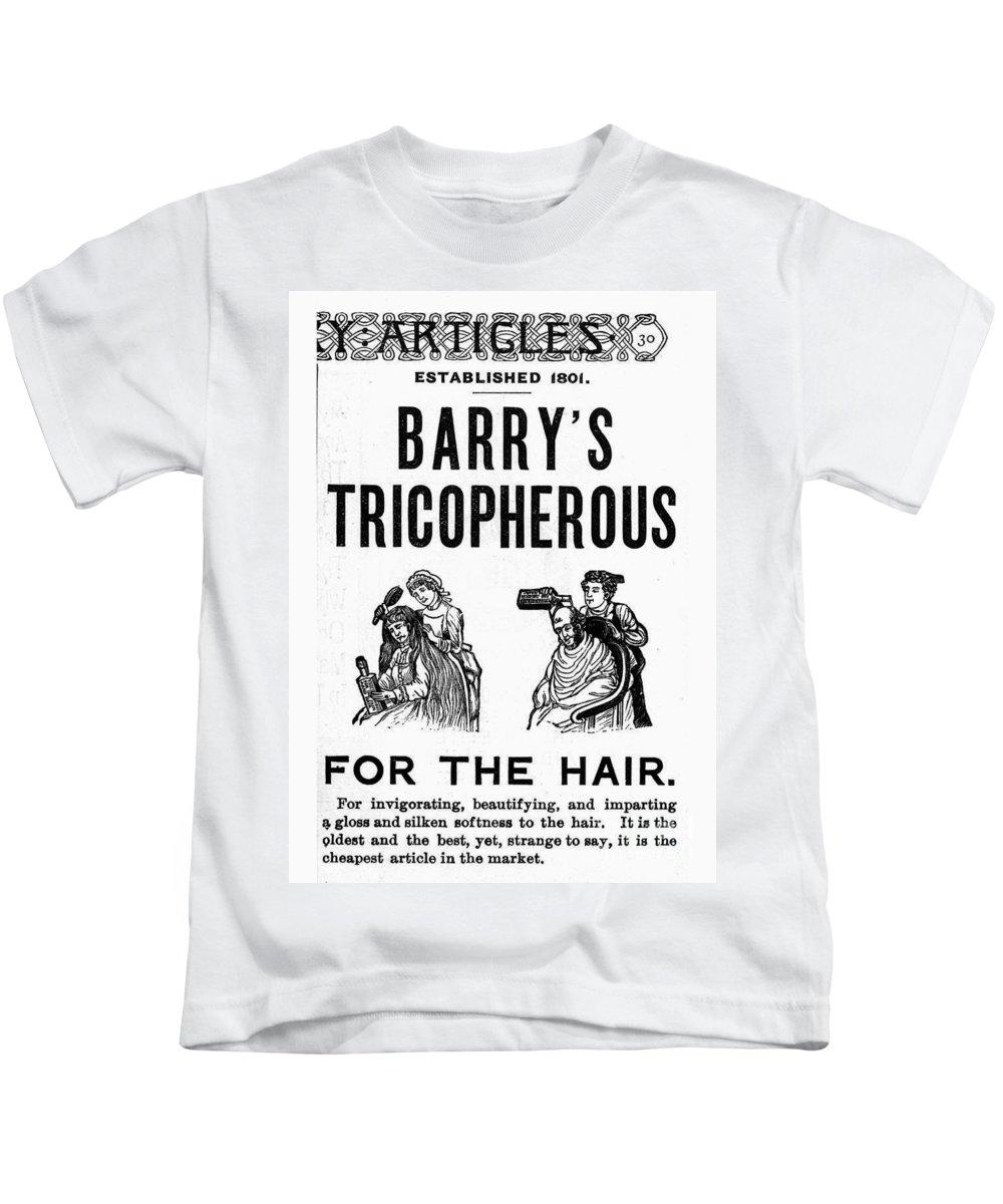 1887 Kids T-Shirt featuring the photograph Hair Restorative, 1887 by Granger