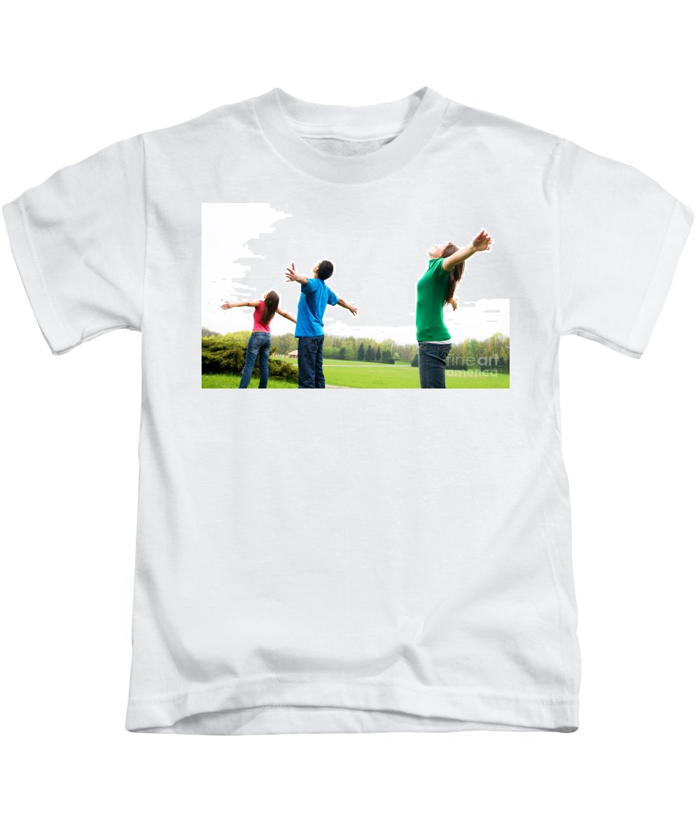 Active Kids T-Shirt featuring the photograph Happy Friends by Michal Bednarek