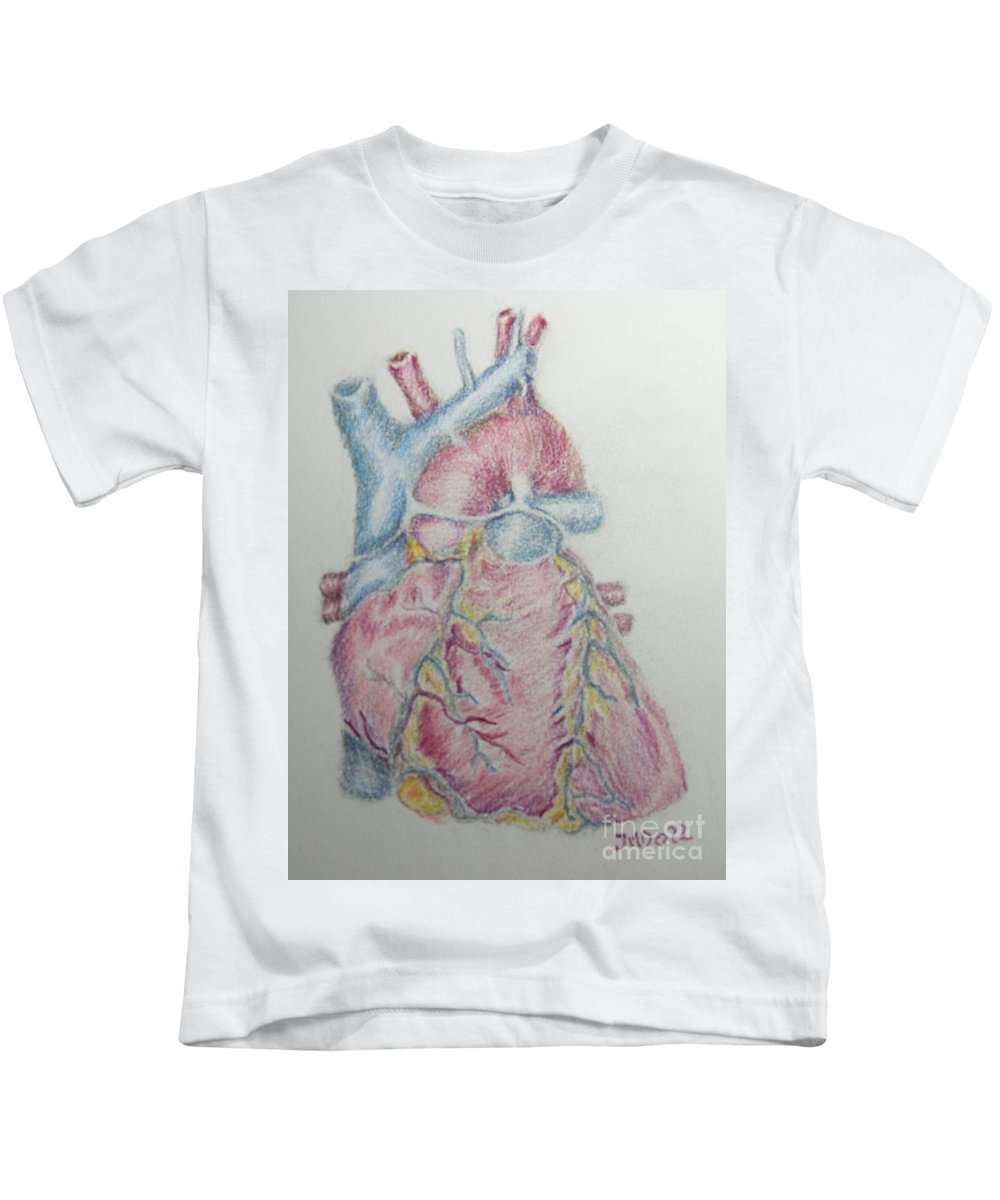 Anatomy Kids T-Shirt featuring the drawing Heart  by Juanita Doll
