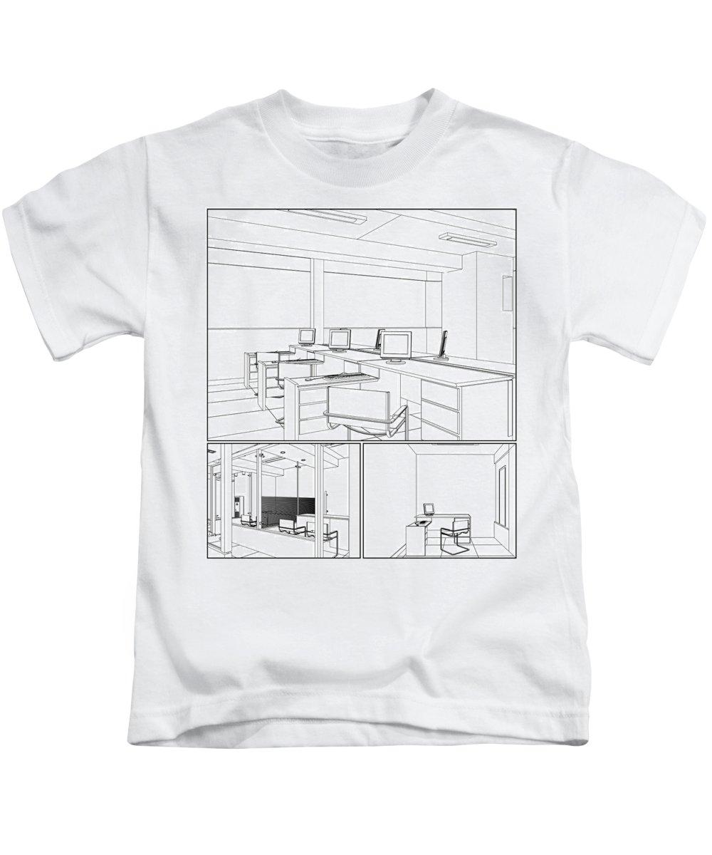 Interior Kids T-Shirt featuring the digital art Interior Office Rooms by Nenad Cerovic