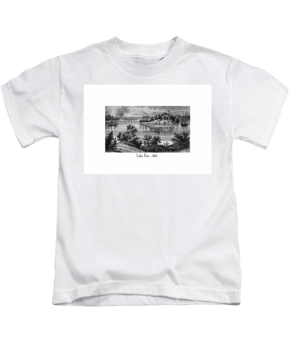 Lake Erie Kids T-Shirt featuring the digital art Lake Erie - 1815 by John Madison