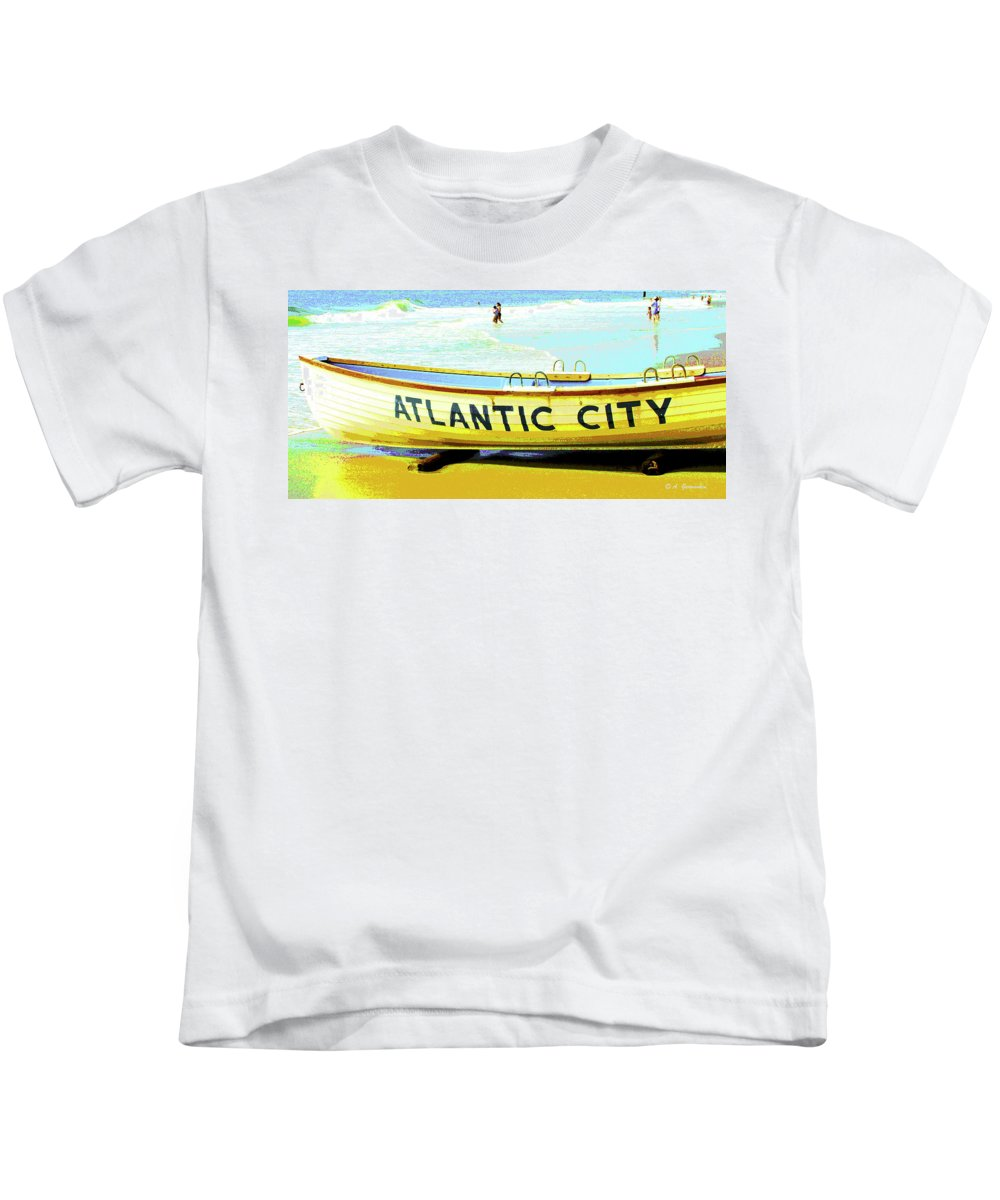 Atlantic City Kids T-Shirt featuring the digital art Lifeboat Atlantic City New Jersey by A Gurmankin