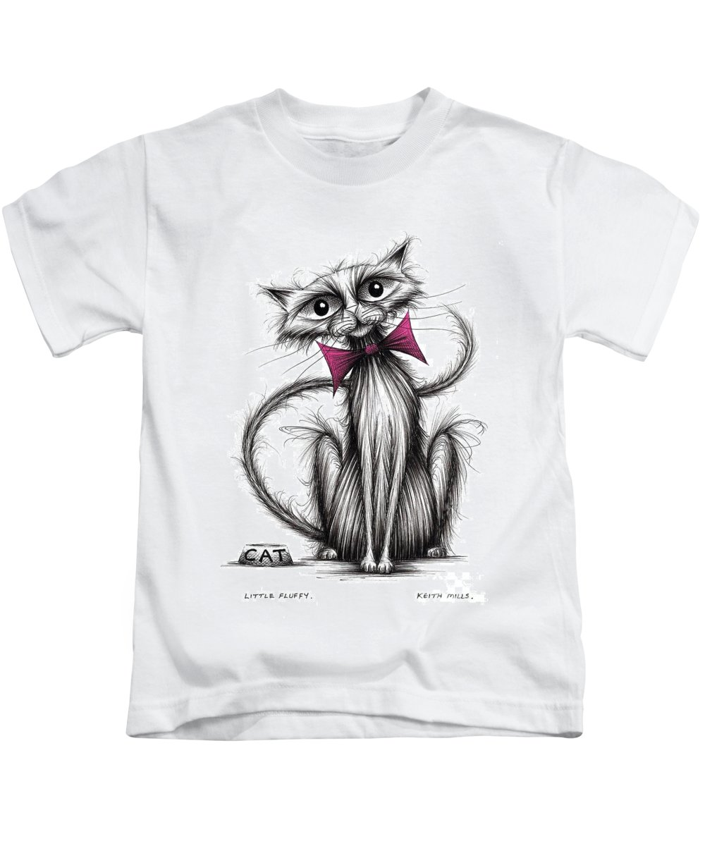 Little Fluffy Kids T-Shirt featuring the drawing Little Fluffy by Keith Mills