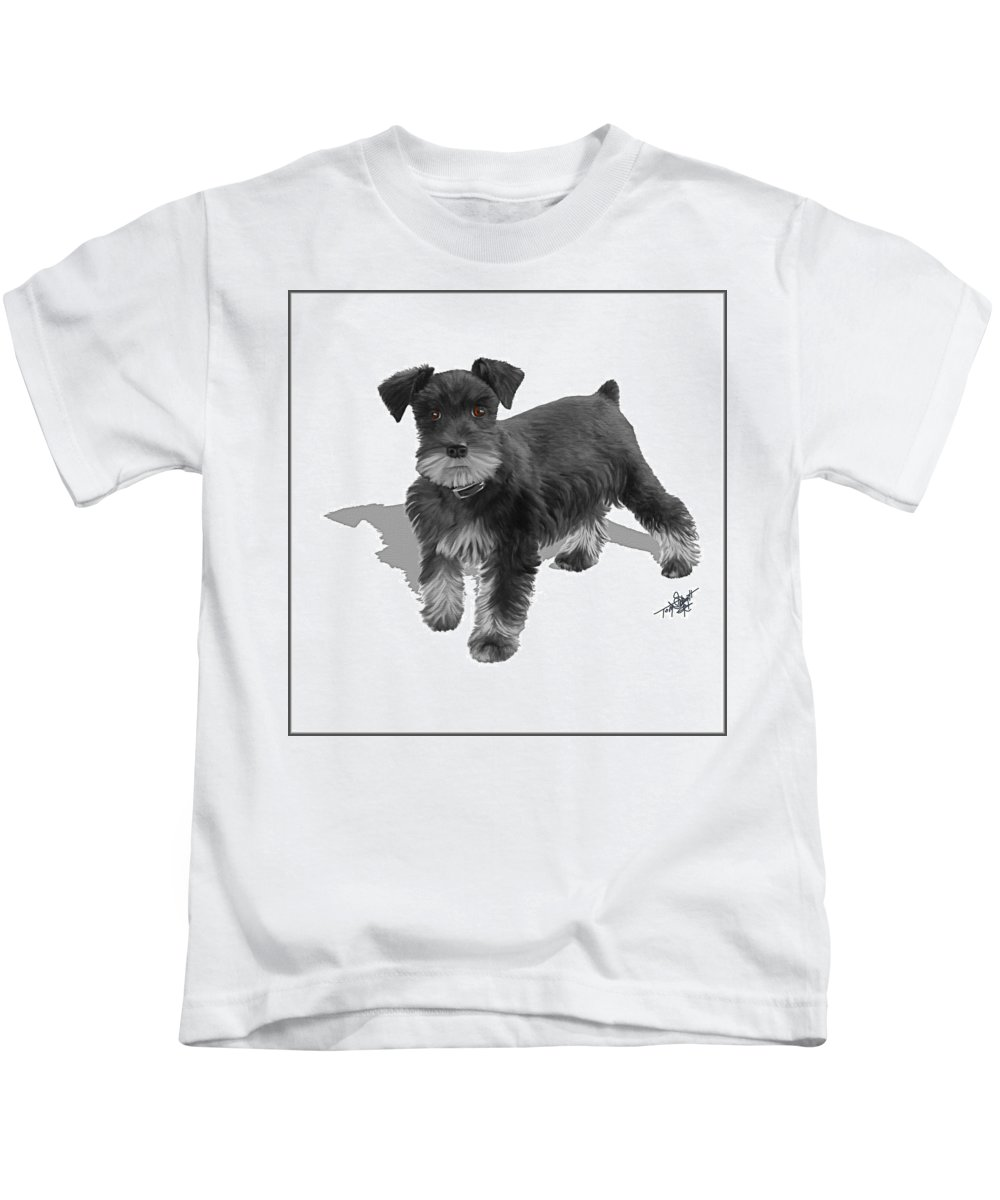 Schnauzer Puppies Kids T-Shirt featuring the painting Lucy by Tom Schmidt