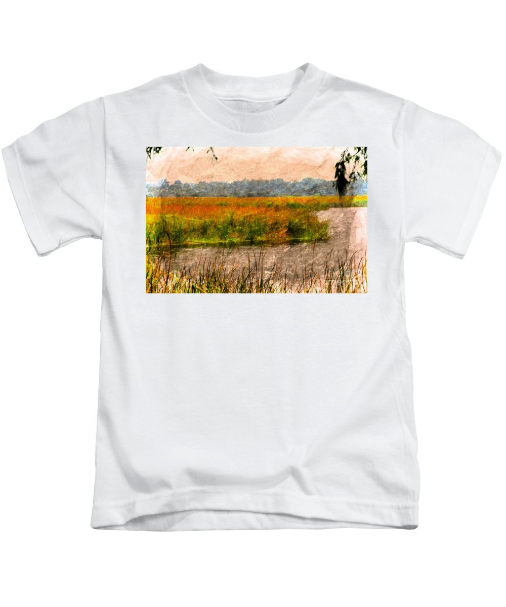 Marsh Kids T-Shirt featuring the photograph Marsh Land by Kathleen Struckle