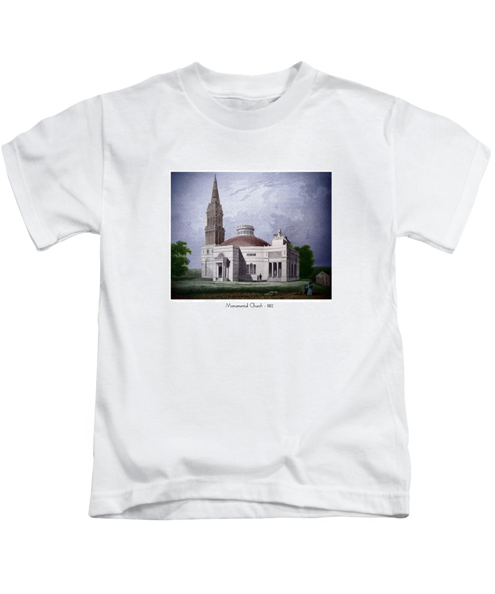 Monumental Church Kids T-Shirt featuring the digital art Monumental Church - 1812 by John Madison