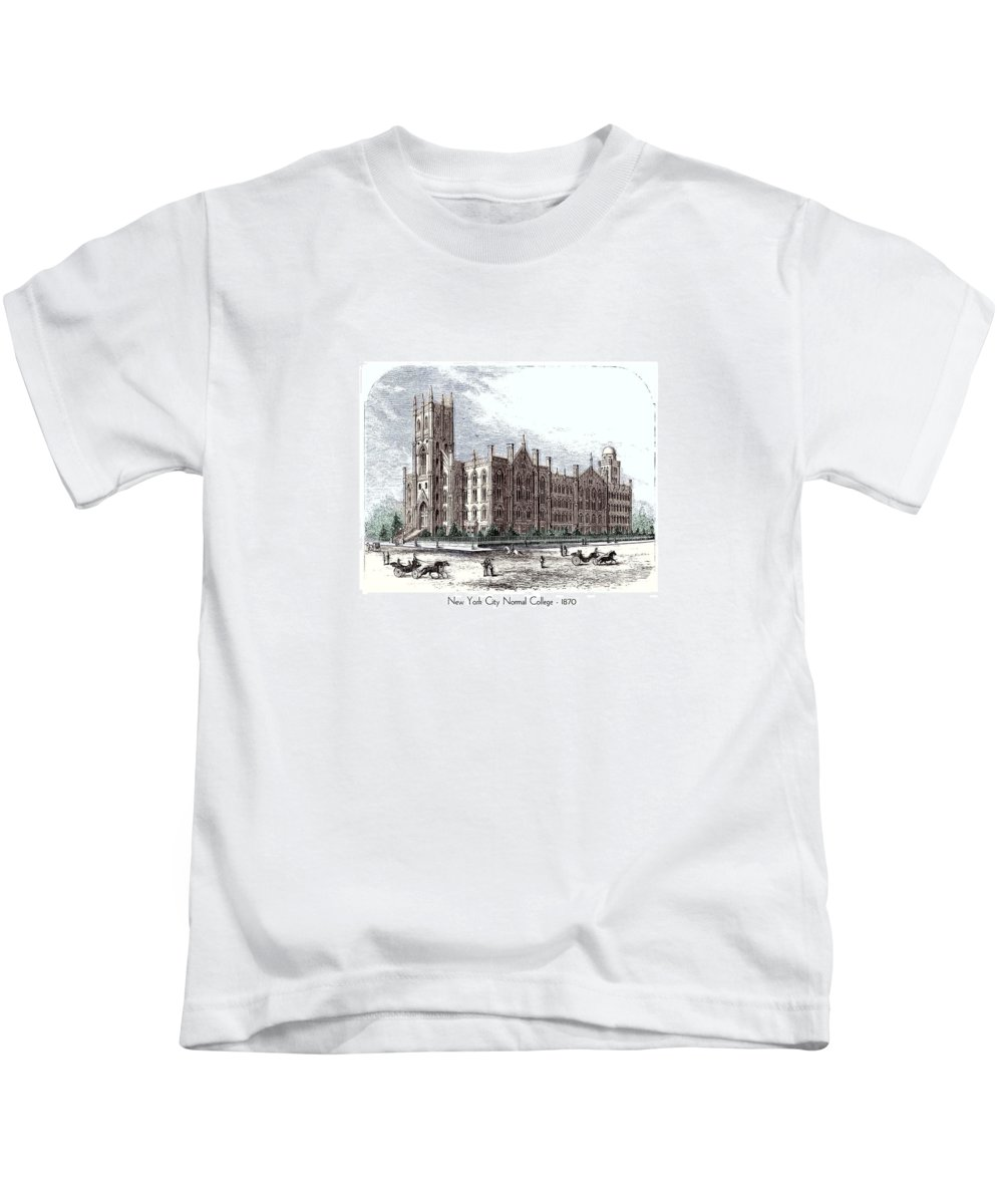 New York Kids T-Shirt featuring the digital art New York City Normal College - 1870 by John Madison