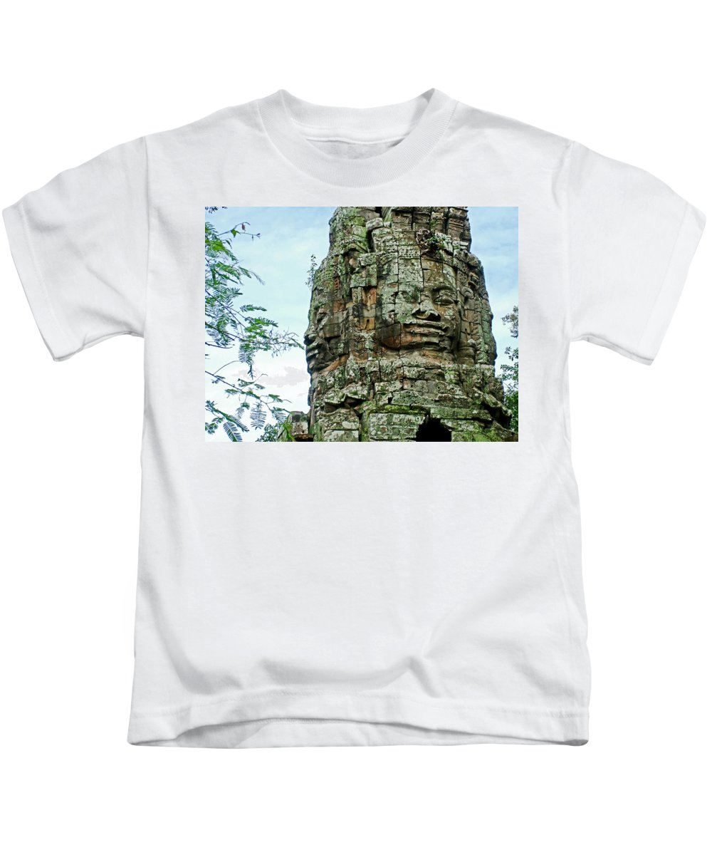 North Gate Of Angkor Thom In Angkor Wat Archeologial Park Near Siem Reap Kids T-Shirt featuring the photograph North Gate Of Angkor Thom In Angkor Wat Archeological Park-cambodia by Ruth Hager