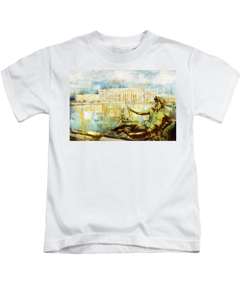 Western Ghats Kids T-Shirt featuring the painting Palace And Park Of Versailles by Catf