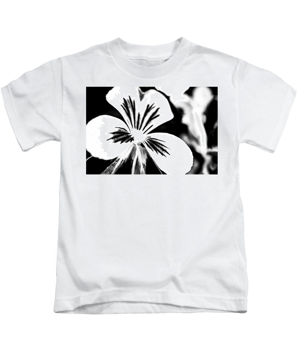 Flower Kids T-Shirt featuring the photograph Pansy Flower Black And White 01 by Alexander Senin