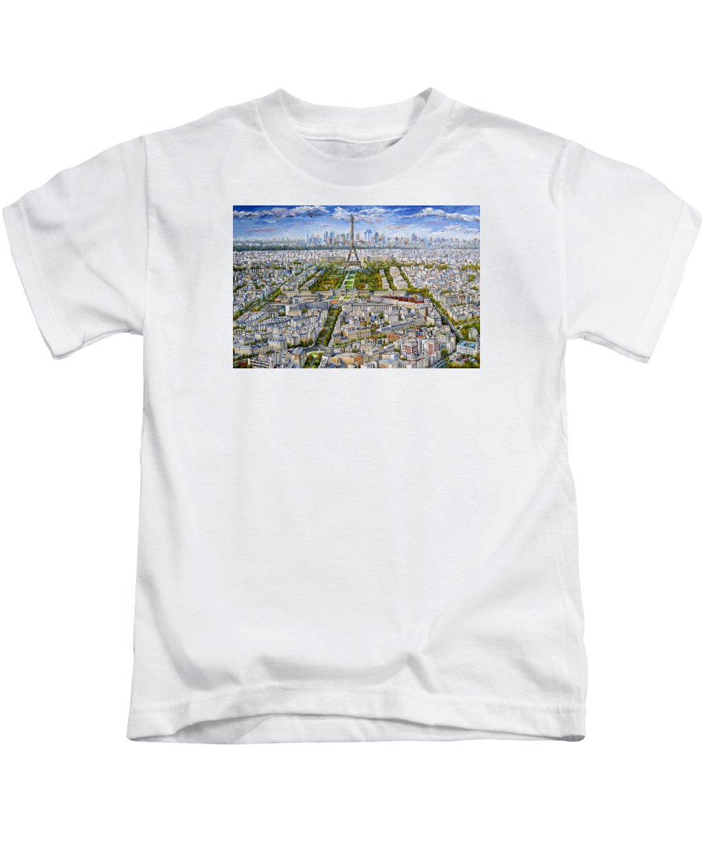 Paris Skyline Kids T-Shirt featuring the painting Paris Skyline - Eiffel Tower by Mike Rabe