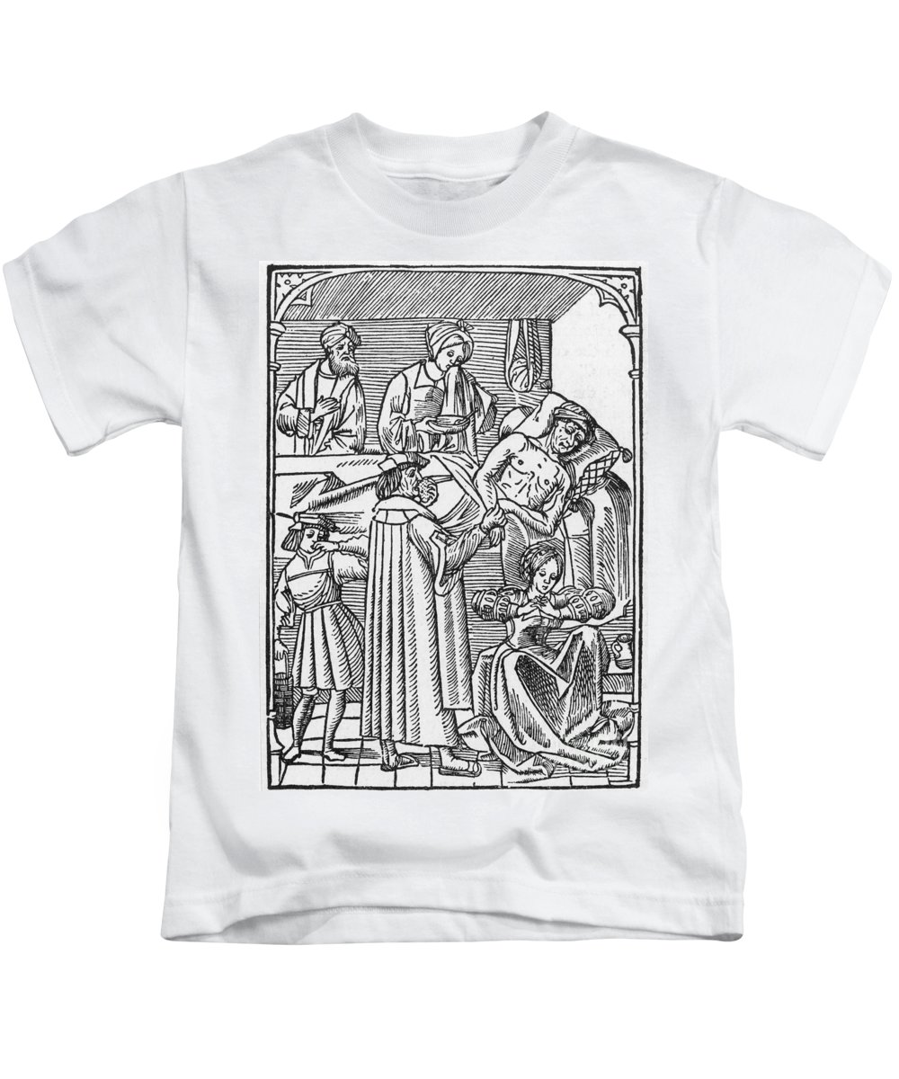 16th Century Kids T-Shirt featuring the photograph Physician & Plague Victim by Granger