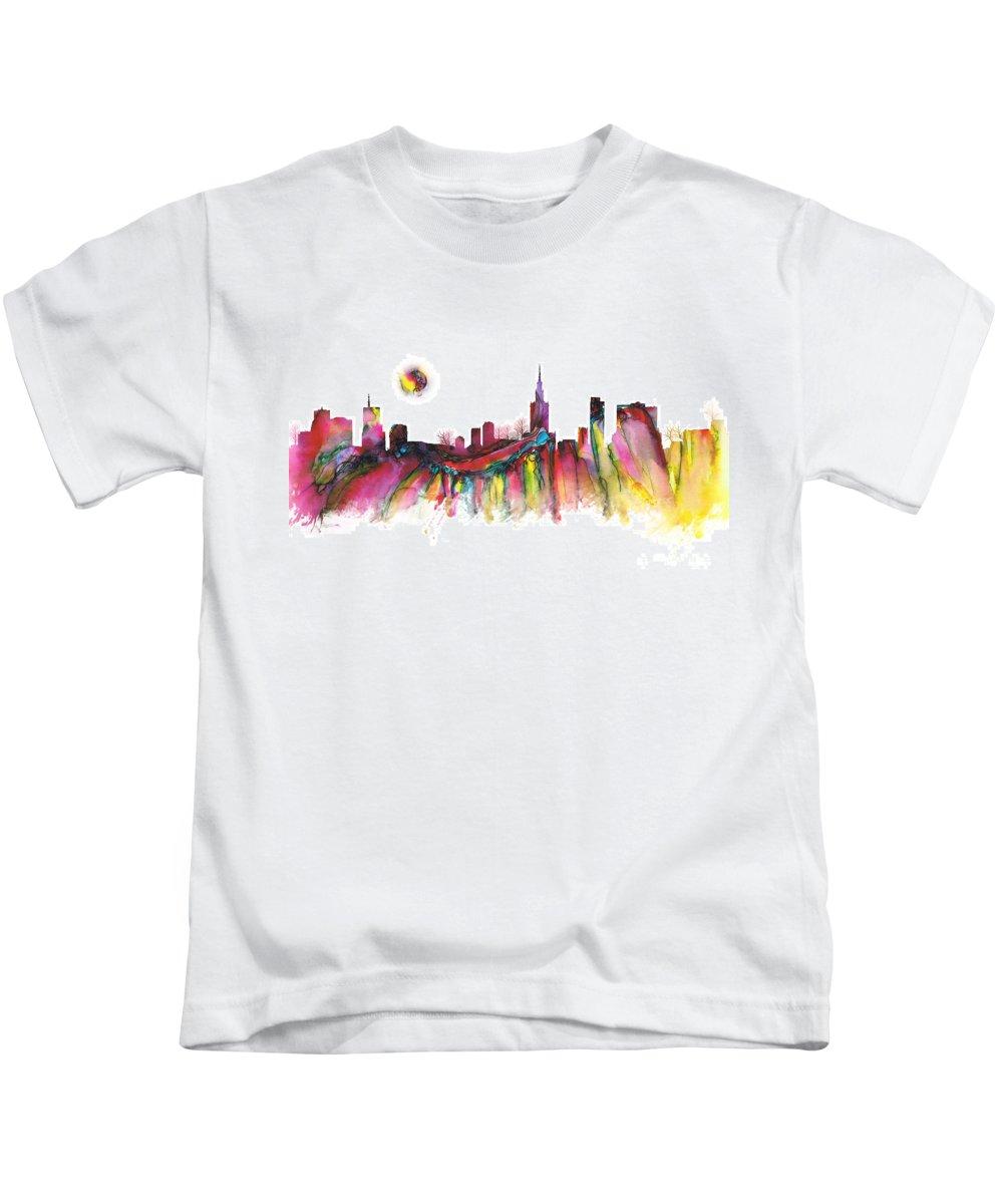Skyline Kids T-Shirt featuring the digital art Skyline Warsaw by Justyna JBJart