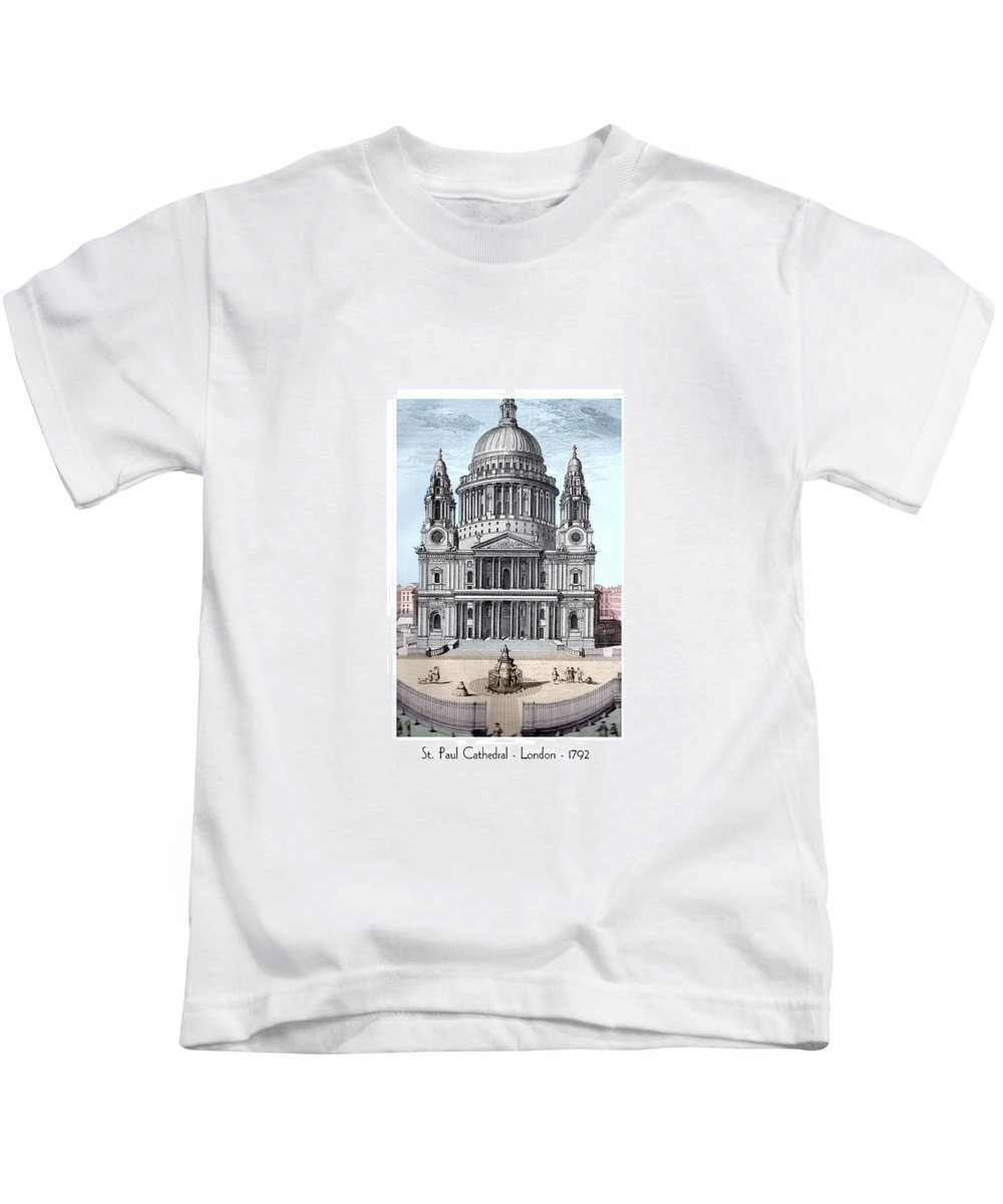 Anglican Kids T-Shirt featuring the digital art St. Paul Cathedral - London - 1792 by John Madison