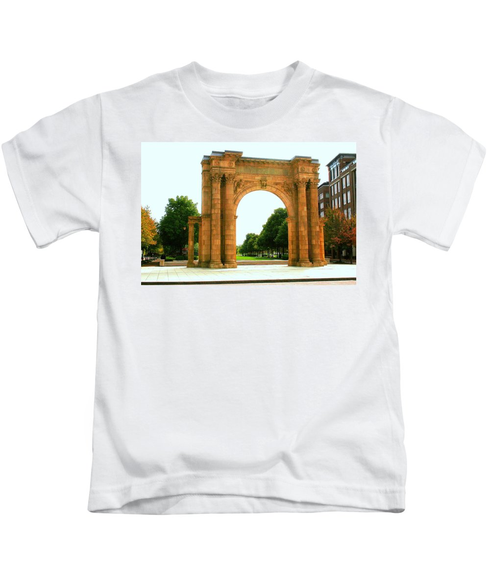 Arch Kids T-Shirt featuring the photograph Union Station Arch by Laurel Talabere