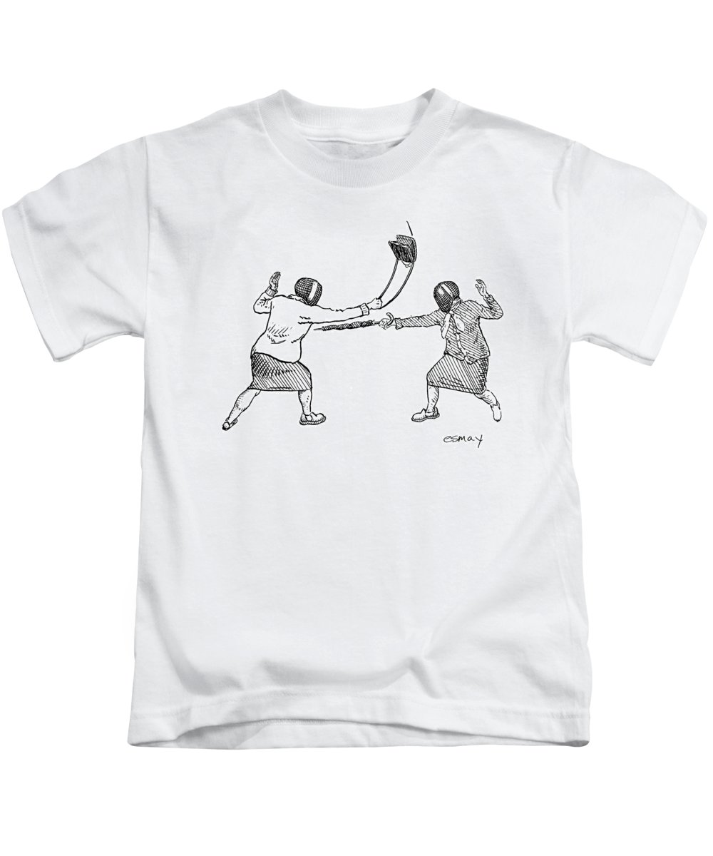 Sports Fencing Word Play   (two Women In Fencing Masks Dueling With An Umbrella And A Purse.) 122558 Res Rob Esmay Kids T-Shirt featuring the drawing New Yorker June 19th, 2006 by Rob Esmay