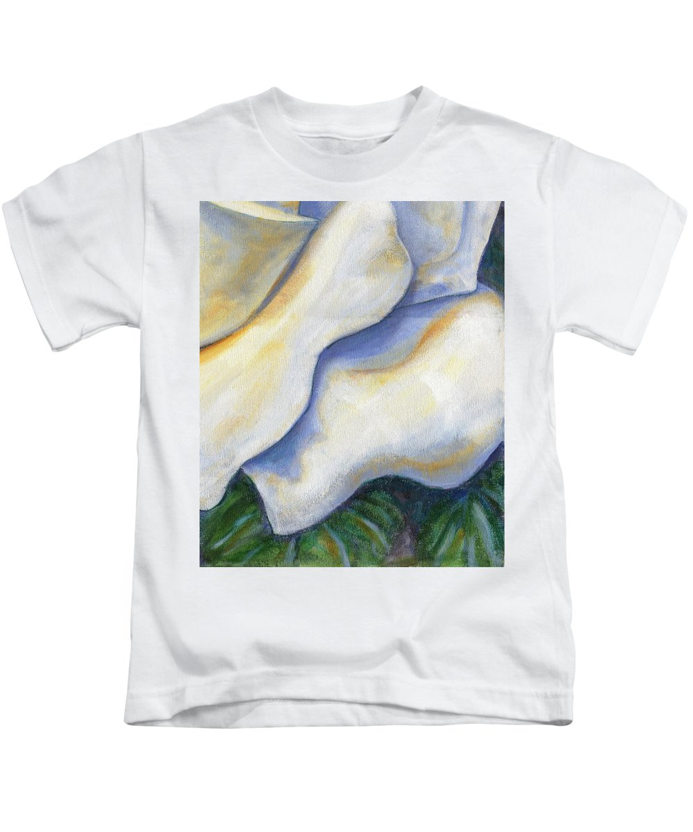 White Rose Kids T-Shirt featuring the painting White Rose Two Panel Four Of Four by Linda Mears