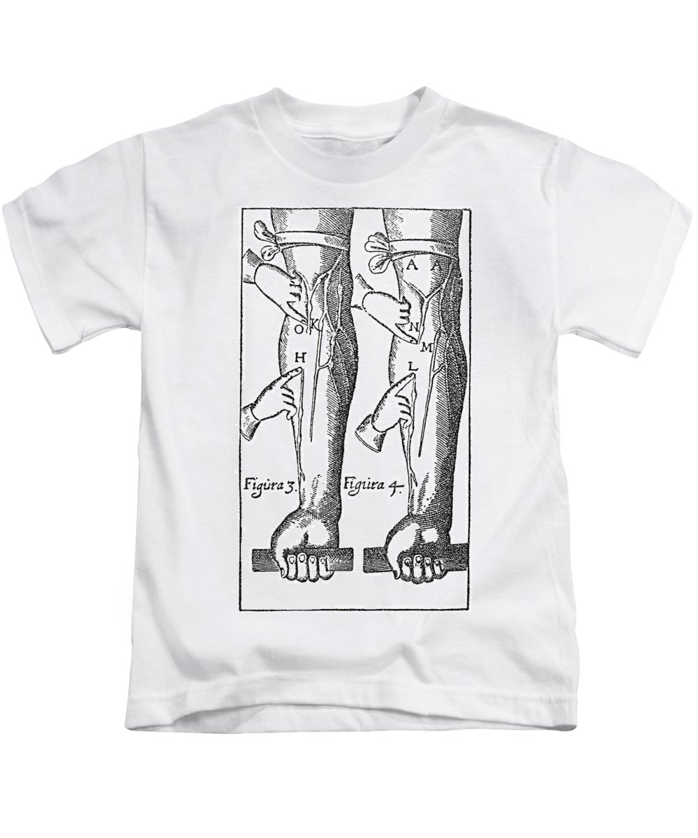 1628 Kids T-Shirt featuring the photograph William Harvey: Blood, 1628 by Granger