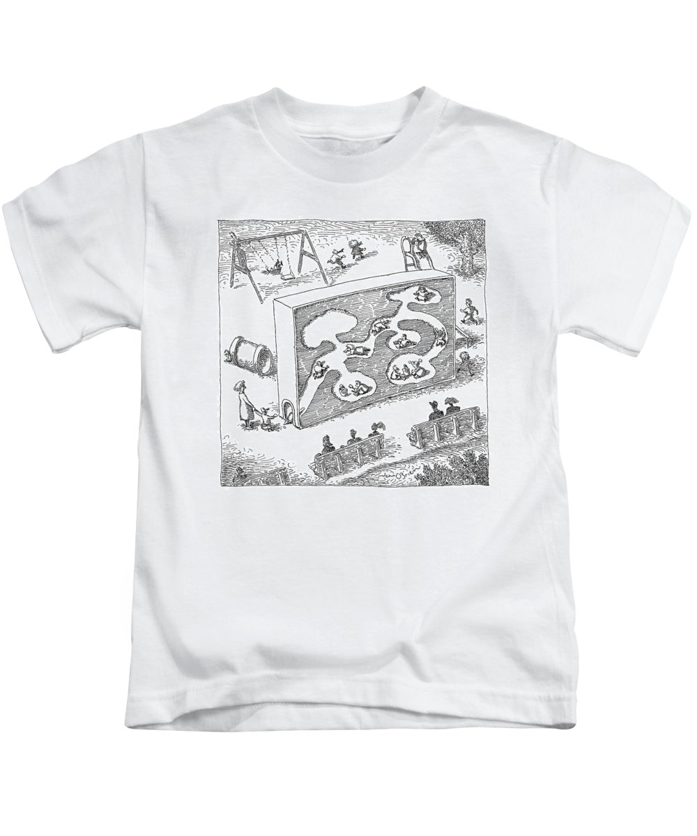 Chilren Games   (kids Playing In A Large Child-size Ant-farm.) 120538 Job John O'brien Kids T-Shirt featuring the drawing New Yorker February 14th, 2005 by John O'Brien