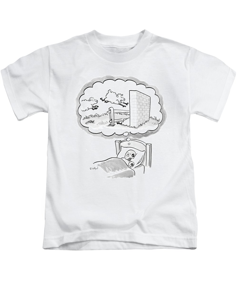 Incompetents Dreams Domestic Animals  (crash Test Dummy Counting Sheep As They Jump Over A Fence And Crash Into A Brick Wall.) 121699 Rle Robert Leighton Kids T-Shirt featuring the drawing New Yorker December 12th, 2005 by Robert Leighton