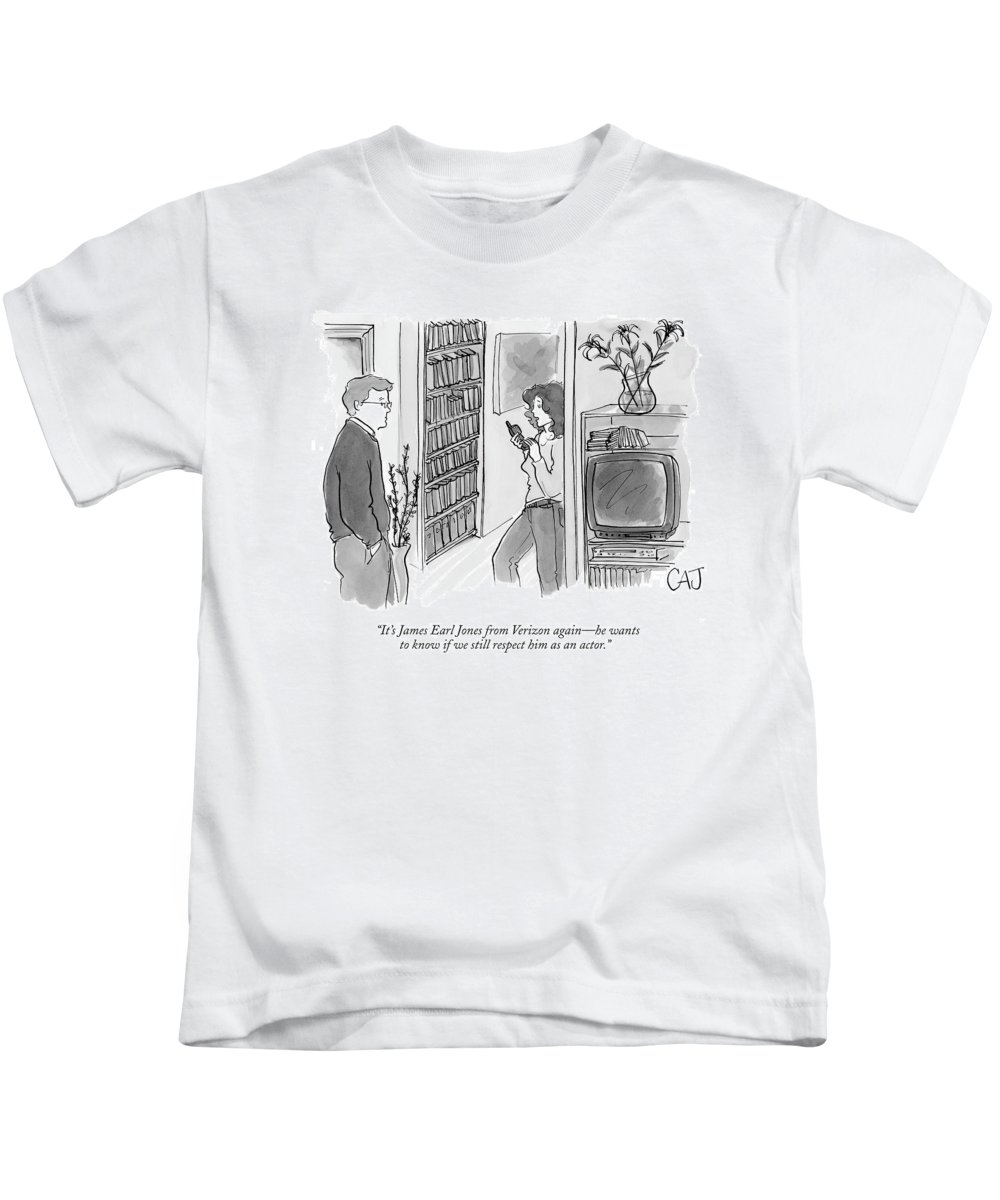 Actors Media Shopping Consumerism Television   (woman With Phone In Hand Talking To Her Husband.) 121029 Cjo Carolita Johnson Kids T-Shirt featuring the drawing It's James Earl Jones From Verizon Again - by Carolita Johnson