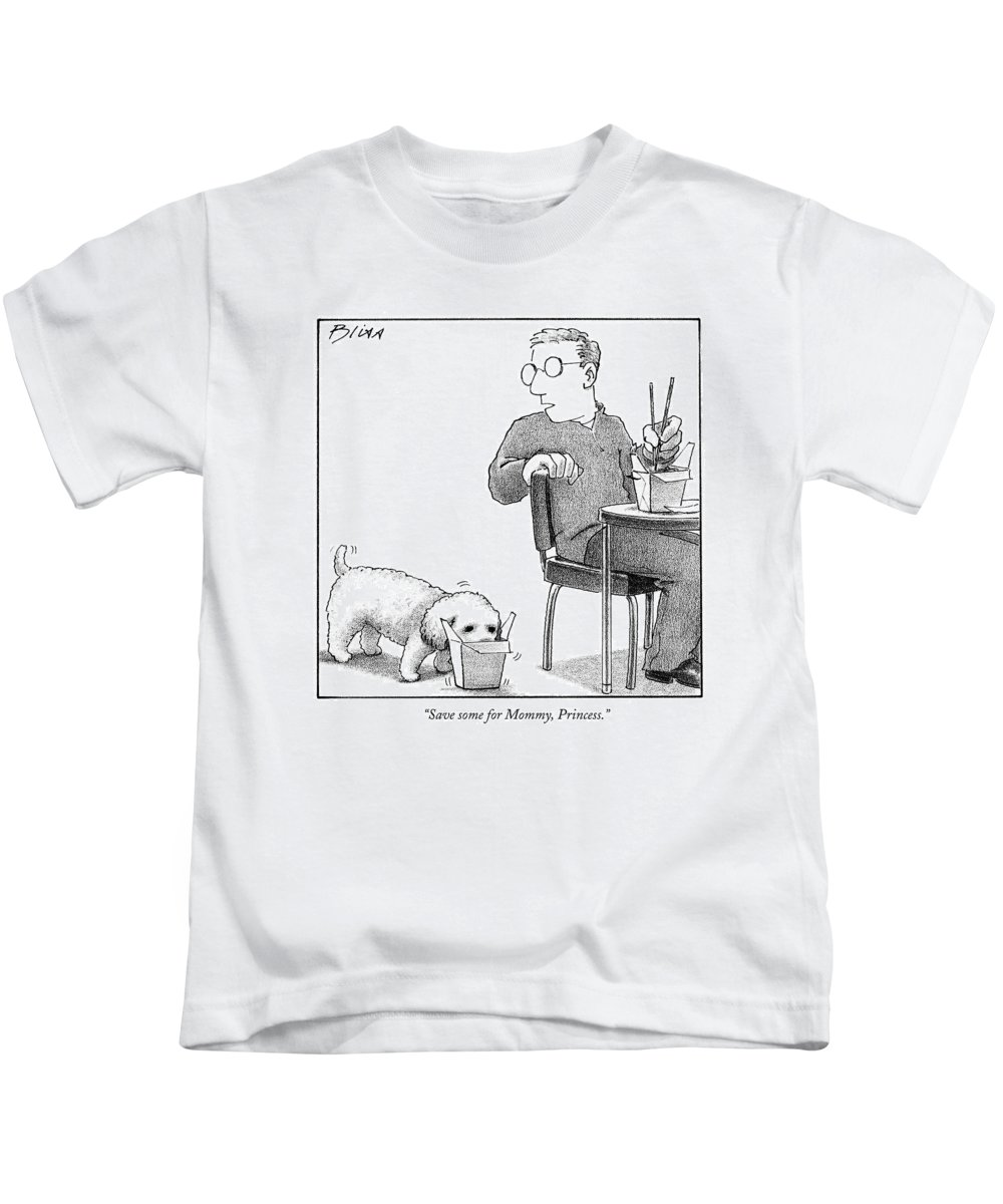 Food Kids T-Shirt featuring the drawing Save Some For Mommy by Harry Bliss