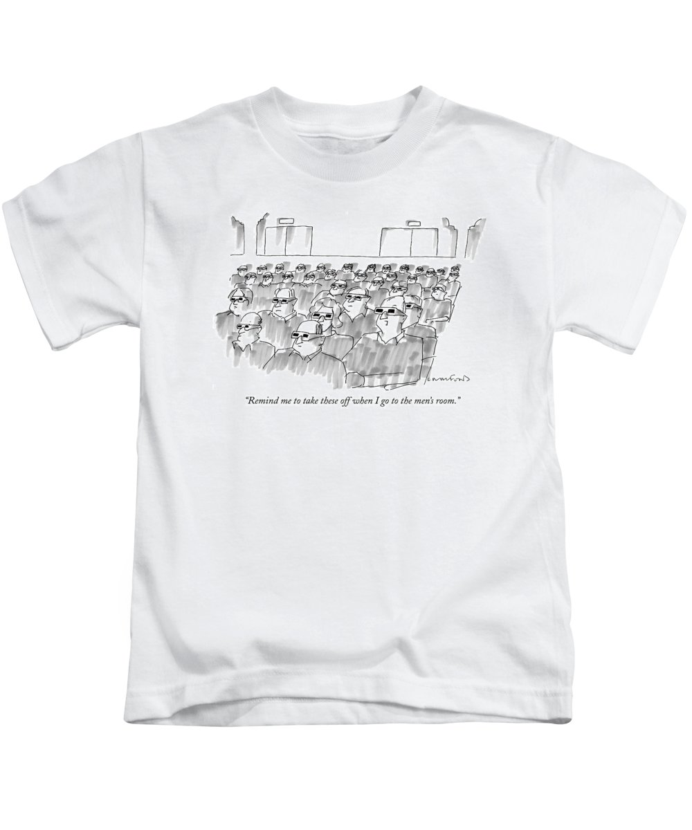 Senility Kids T-Shirt featuring the drawing Remind Me To Take These Off When I Go by Michael Crawford