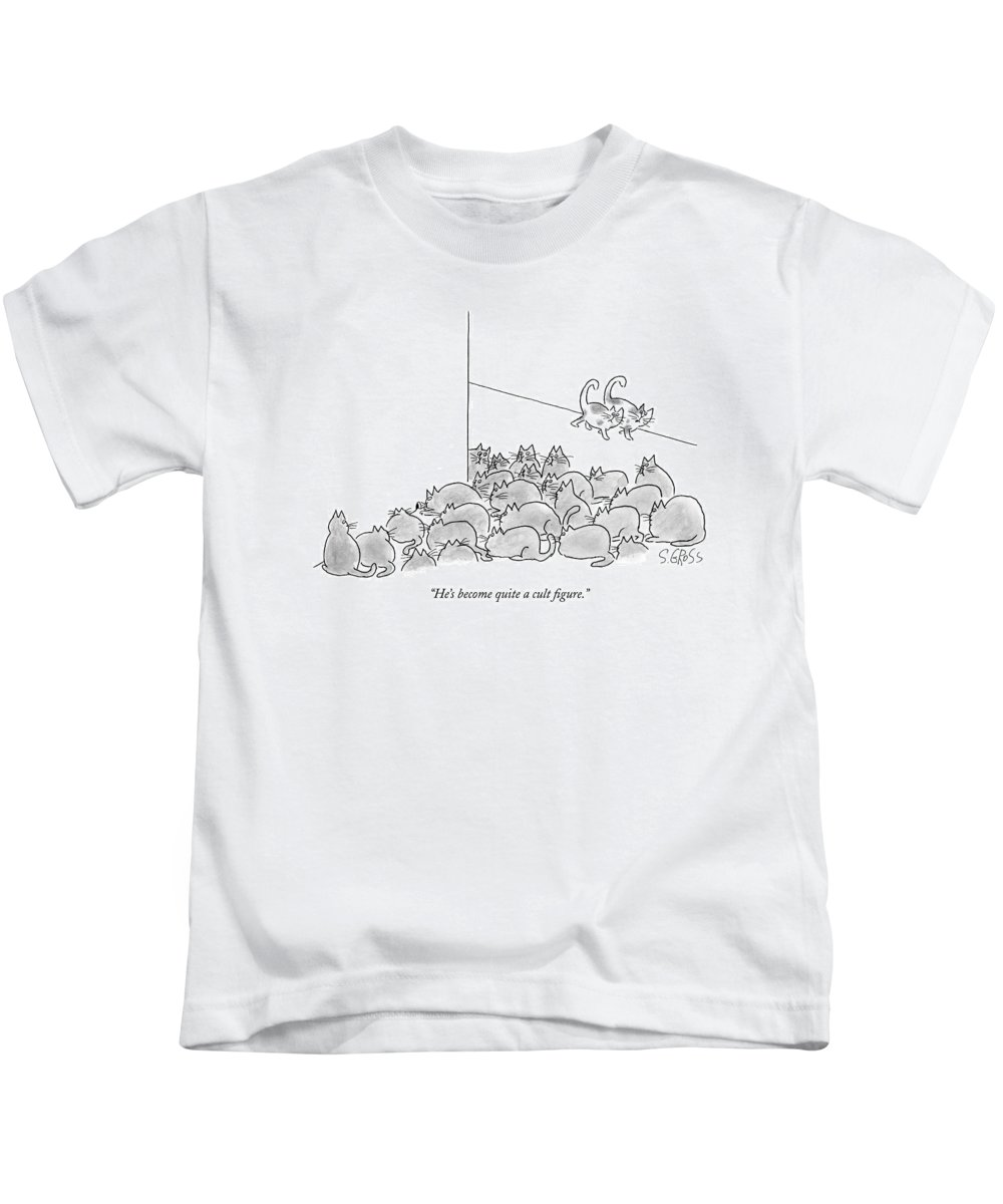 Cats Talking Word Play  (two Cats Talking About Others Surrounding A Mouse Hole.) 121427 Sgr Sam Gross Kids T-Shirt featuring the drawing He's Become Quite A Cult Figure by Sam Gross
