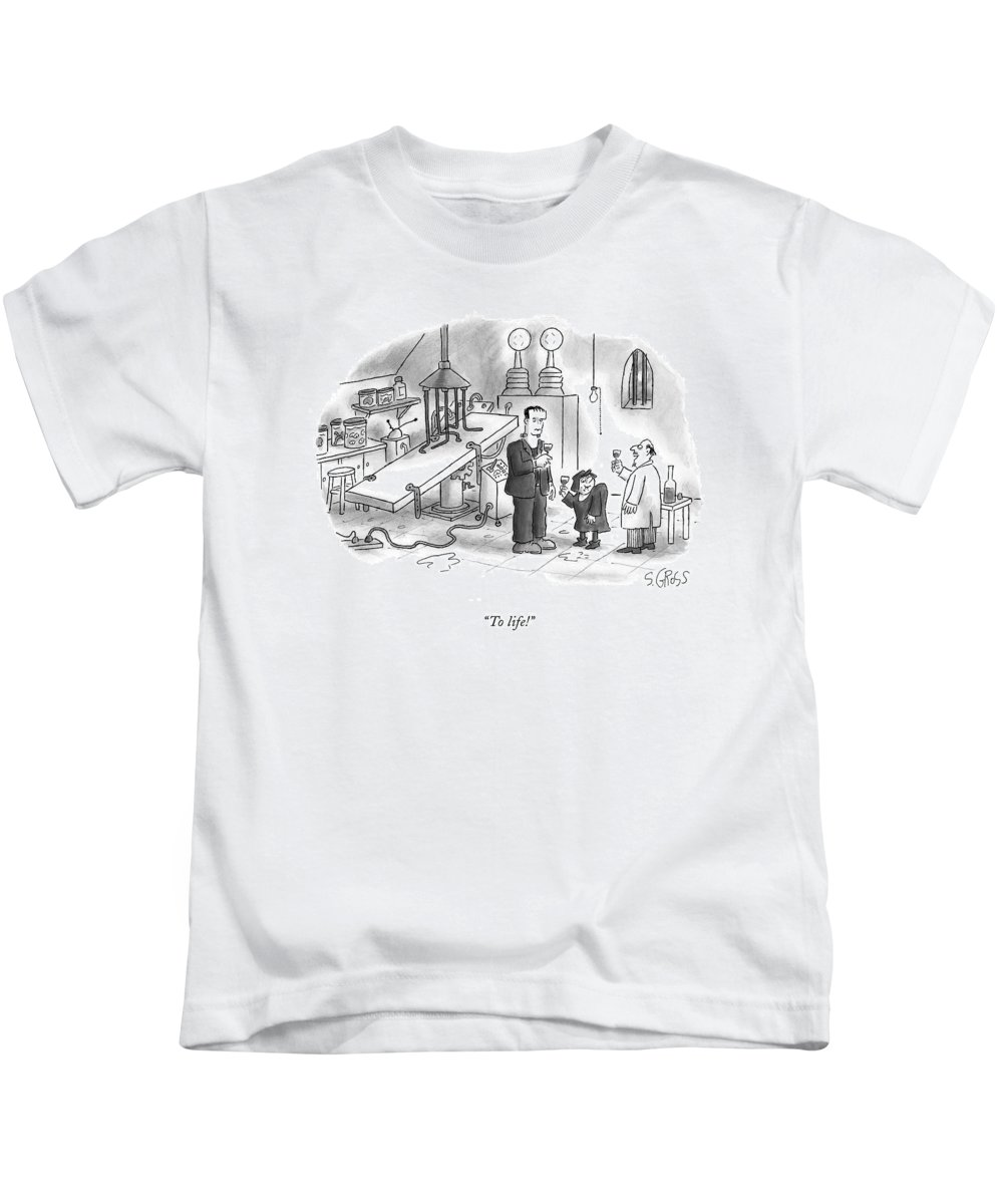Frankenstein Kids T-Shirt featuring the drawing To Life! by Sam Gross