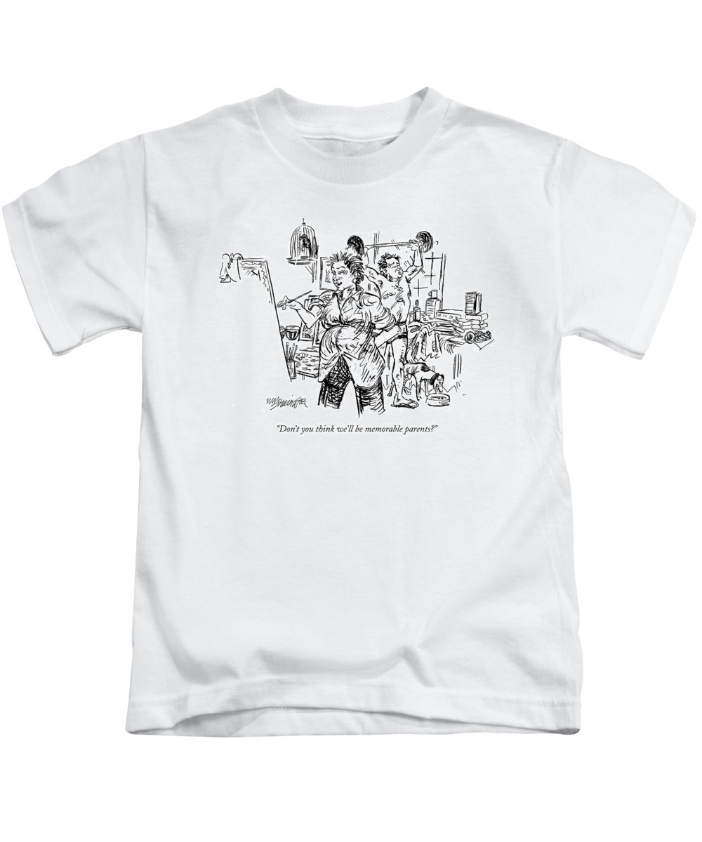 Parents Children Relationships Interiors Family  (pregnant Woman Painting With Shirtless Husband Lifting Weights In The Background.) 121034 Whm William Hamilton Kids T-Shirt featuring the drawing Don't You Think We'll Be Memorable Parents? by William Hamilton