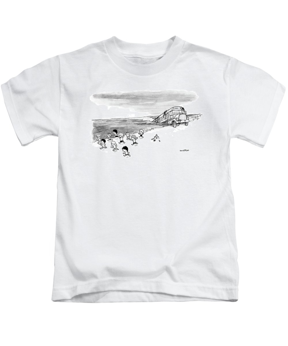 Back To School Kids T-Shirt featuring the drawing New Yorker September 4th, 2006 by Jason Patterson