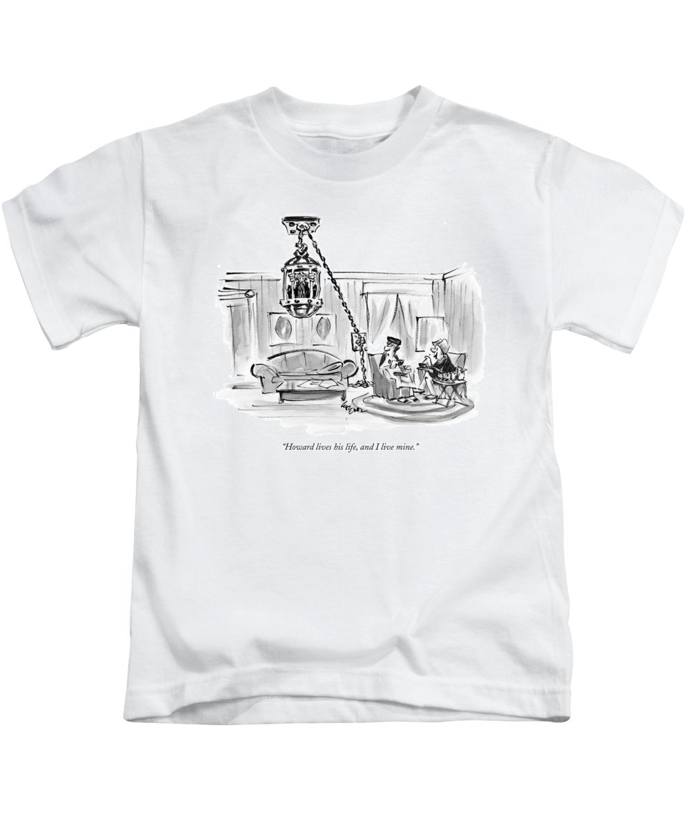 Relationships Problems Marriage Interiors  (one Woman To Another About Her Husband Hanging From The Ceiling In A Cage.) 121038 Llo Lee Lorenz Kids T-Shirt featuring the drawing Howard Lives His Life by Lee Lorenz