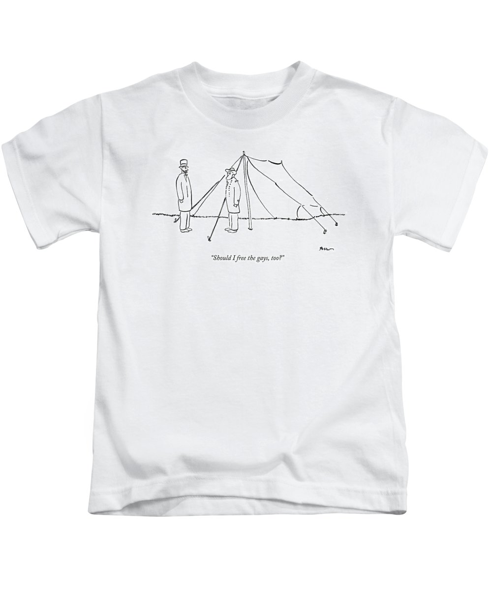 Lincoln Kids T-Shirt featuring the drawing Should I Free The Gays by Michael Shaw