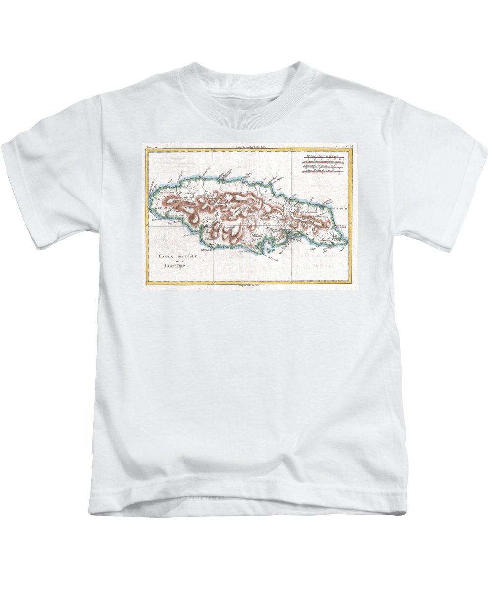 A Fine Example Of Rigobert Bonne And Guilleme Raynal's 1780 Map Of Jamaica. Highly Detailed Kids T-Shirt featuring the photograph 1780 Raynal And Bonne Map Of Jamaica West Indies by Paul Fearn