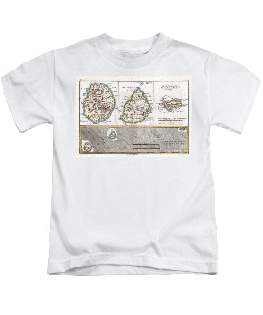 1780 Raynal And Bonne Map Of Mascarene Islands Kids T-Shirt featuring the photograph 1780 Raynal And Bonne Map Of Mascarene Islands Reunion Mauritius Bourbon by Paul Fearn