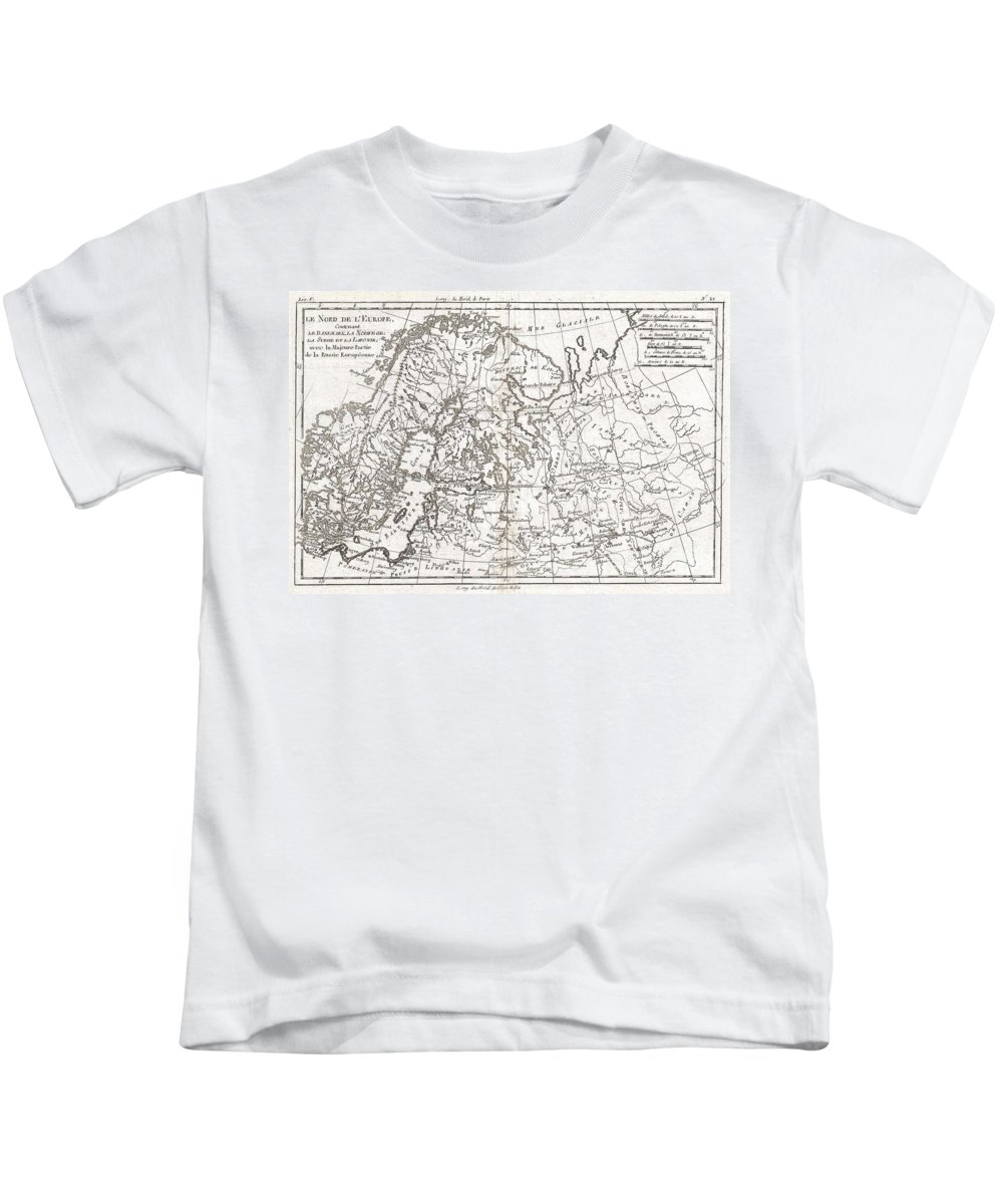 A Fine Example Of Rigobert Bonne And Guillaume Raynal's 1780 Map Of Northern Europe And European Russia. Covers The Modern Day Countries Of Norway Kids T-Shirt featuring the photograph 1780 Raynal And Bonne Map Of Northern Europe And European Russia by Paul Fearn