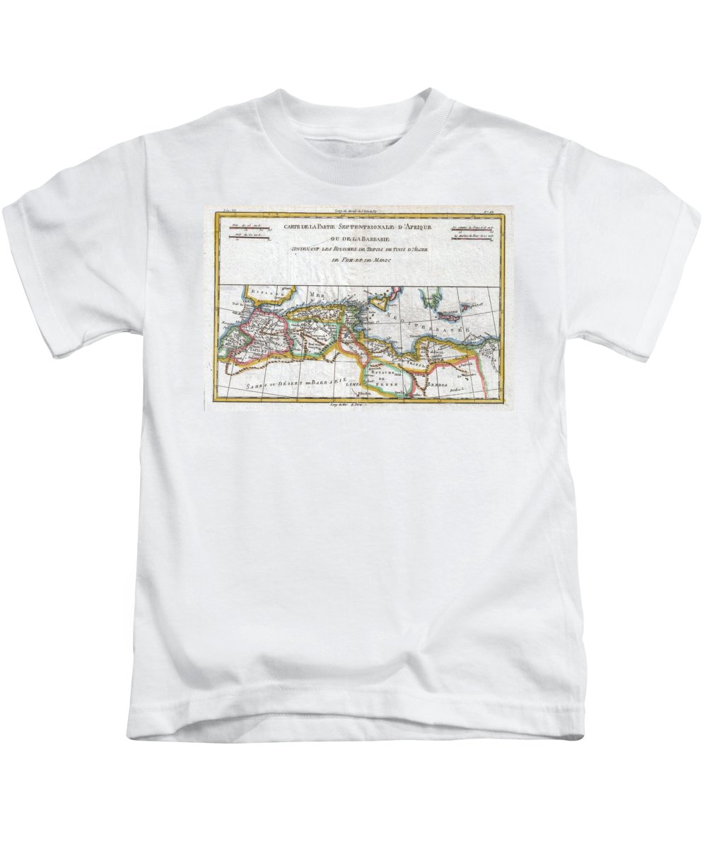 A Fine Example Of Rigobert Bonne And Guilleme Raynal's 1780 Map Of Northwestern Africa Or The Barbary Coast. Includes The Modern Day Countries Of Morocco Kids T-Shirt featuring the photograph 1780 Raynal And Bonne Map Of The Barbary Coast Of Northern Africa by Paul Fearn