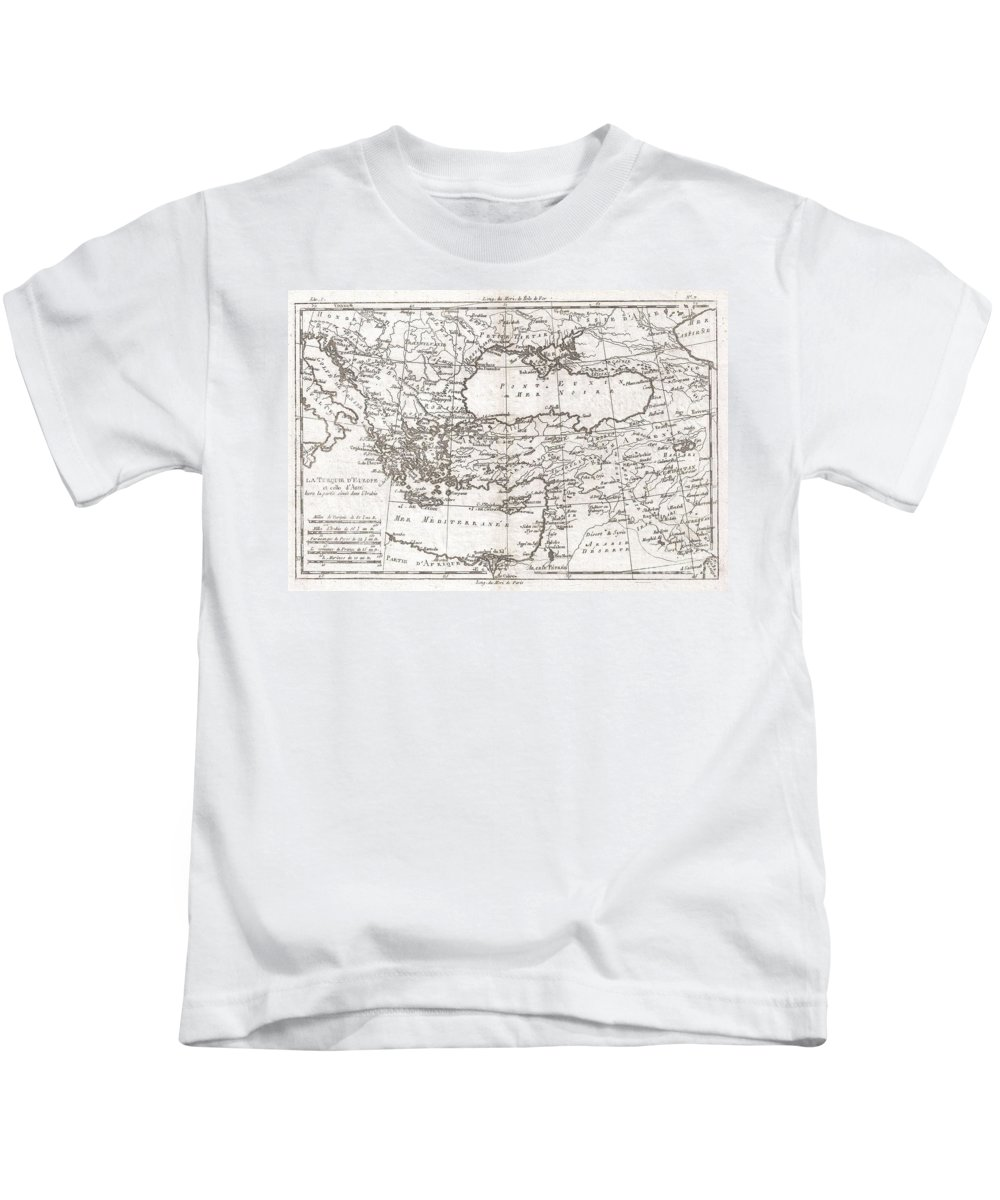 A Fine Example Of Rigobert Bonne And Guilleme Raynal's 1780 Map Of Turkey In Europe And Asia. This Map Of The Ottoman Empire Includes The Areas Stretching From Italy Kids T-Shirt featuring the photograph 1780 Raynal And Bonne Map Of Turkey In Europe And Asia by Paul Fearn