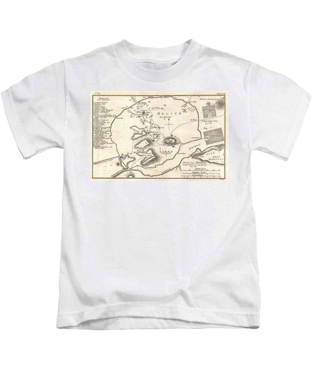 This Is An Attractive 1784 Map Of Ancient Athens Kids T-Shirt featuring the photograph 1784 Bocage Map Of Athens Greece by Paul Fearn